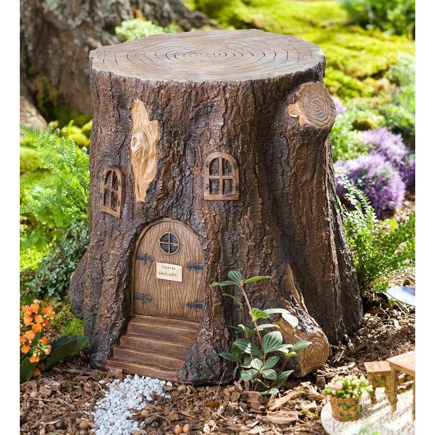 Plow Amp Hearth Whimsical Fairy Garden Tree Stump Stool