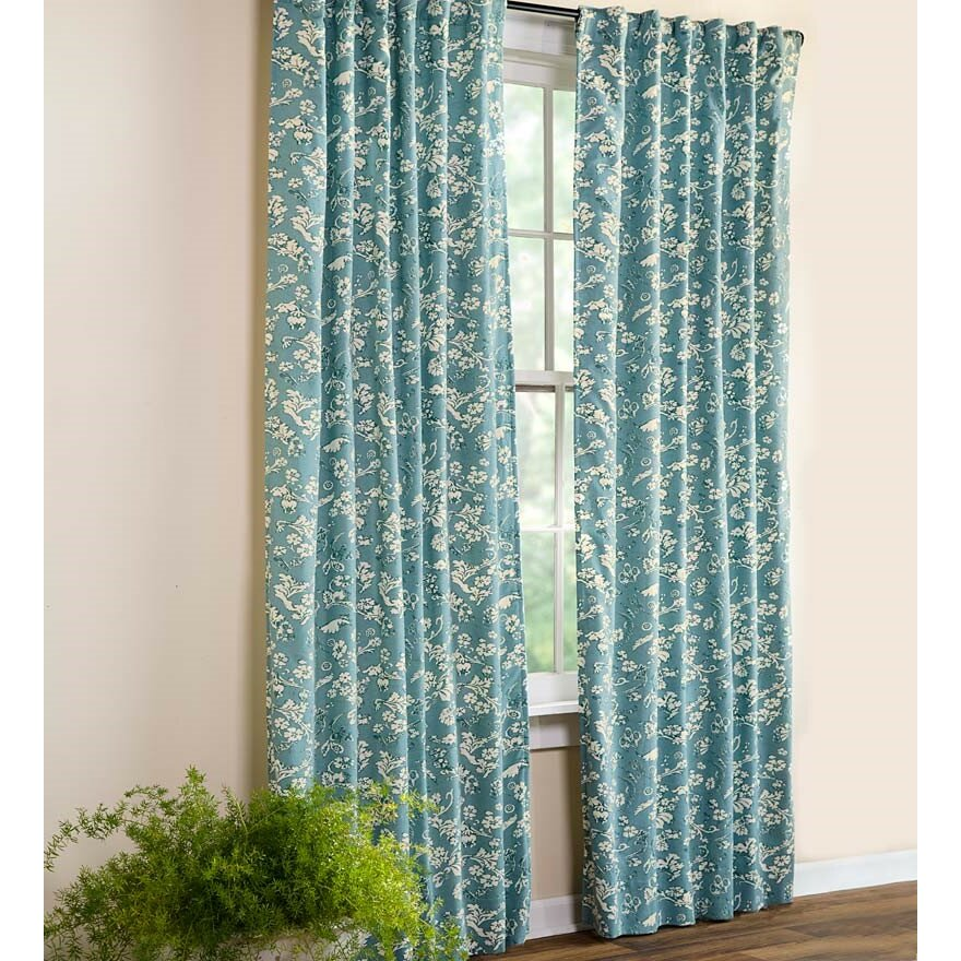 Plow Hearth Floral Rod Pocket Homespun Insulated Curtain