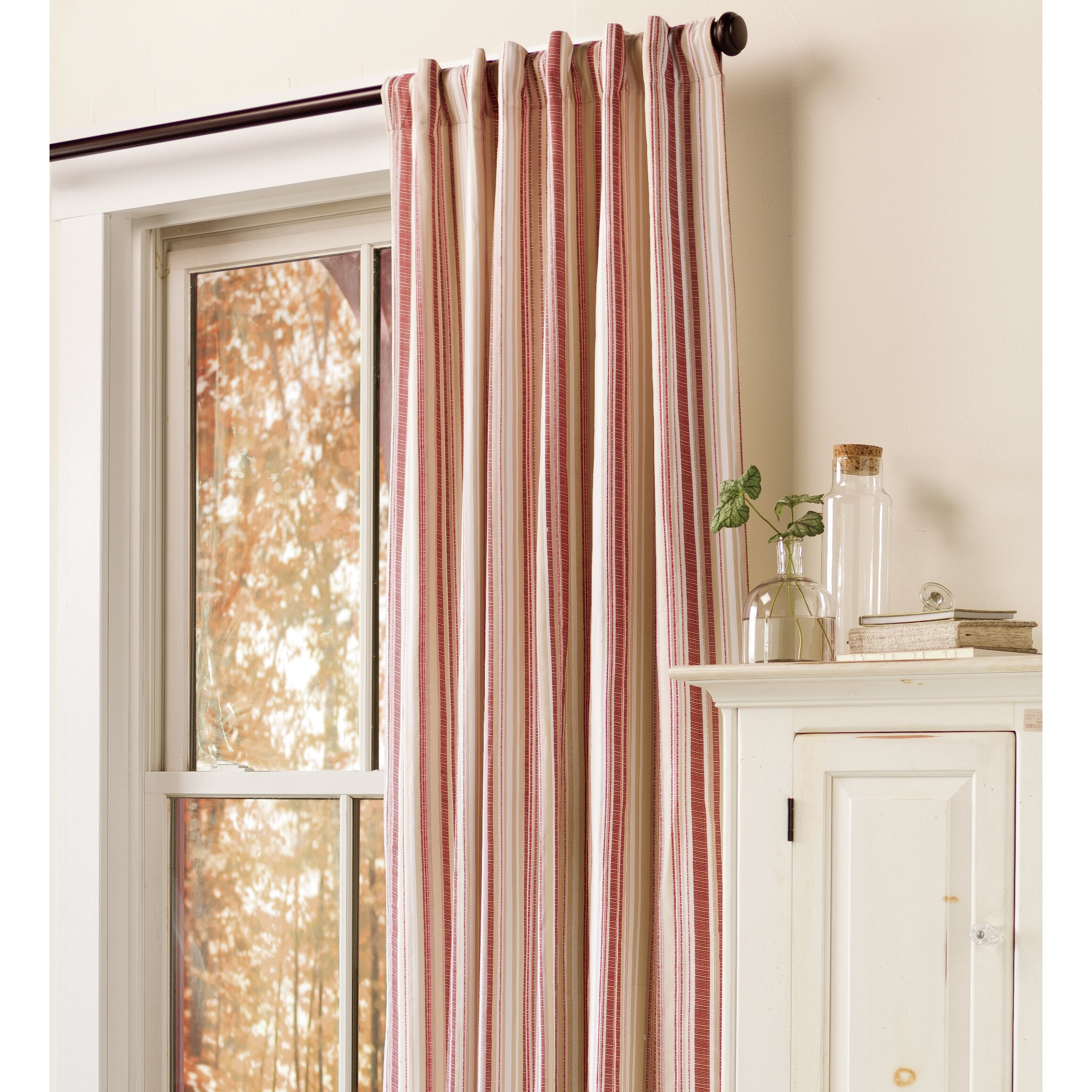 Plow Hearth Ticking Stripe Double Lined Curtains With Rod Pocket Wayfair
