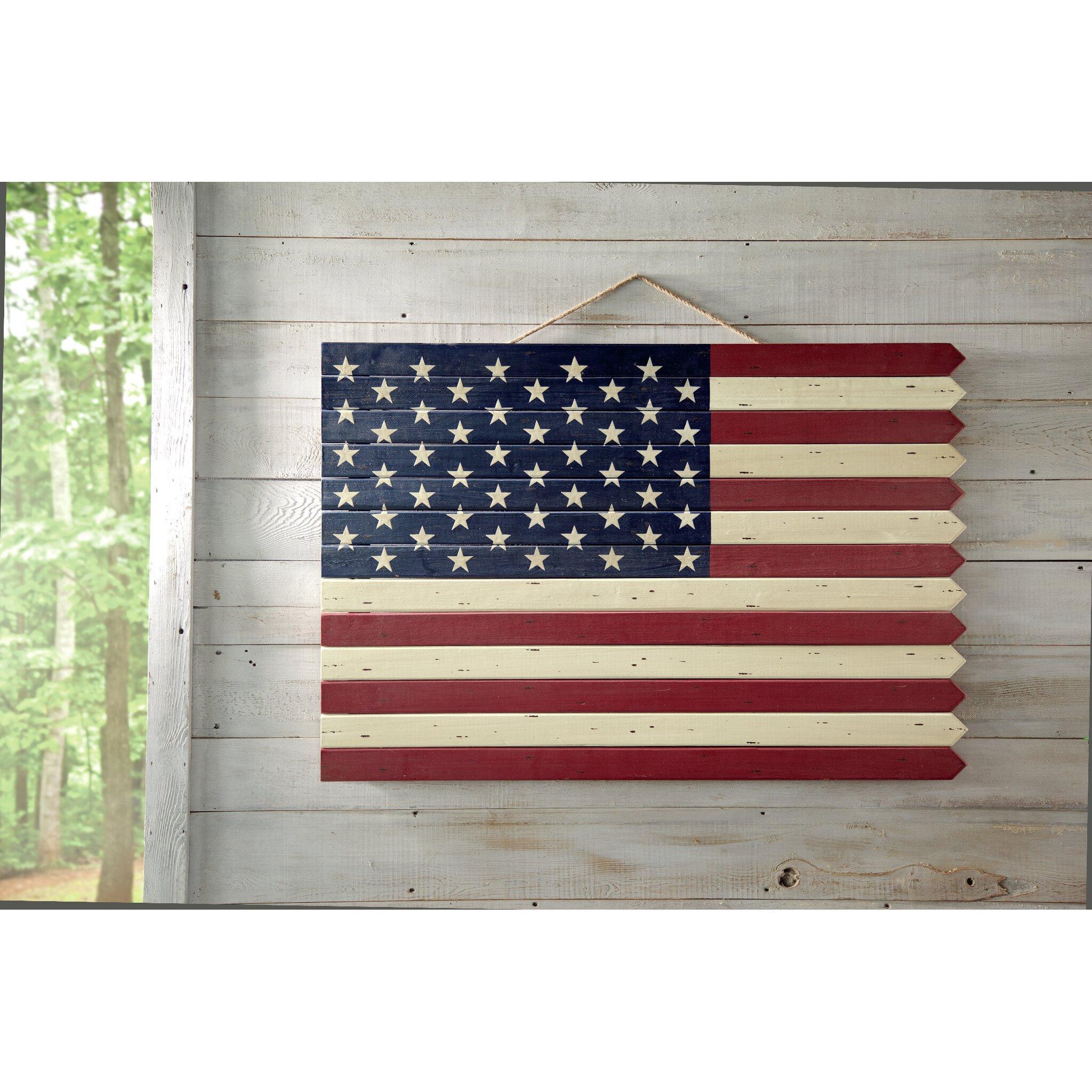Plow Hearth Wooden Americana Flag Wall D Cor Reviews