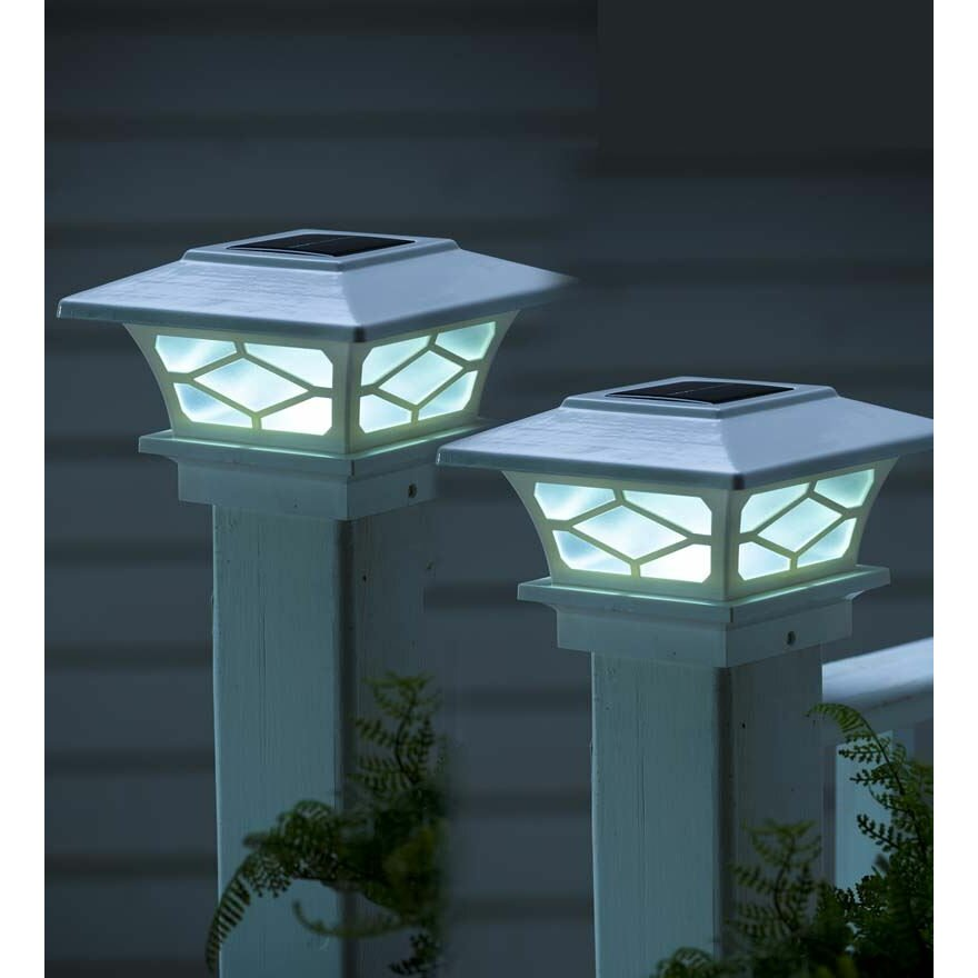 Solar Lights For Posts: Plow & Hearth Classic Solar Fence Post Cap & Reviews