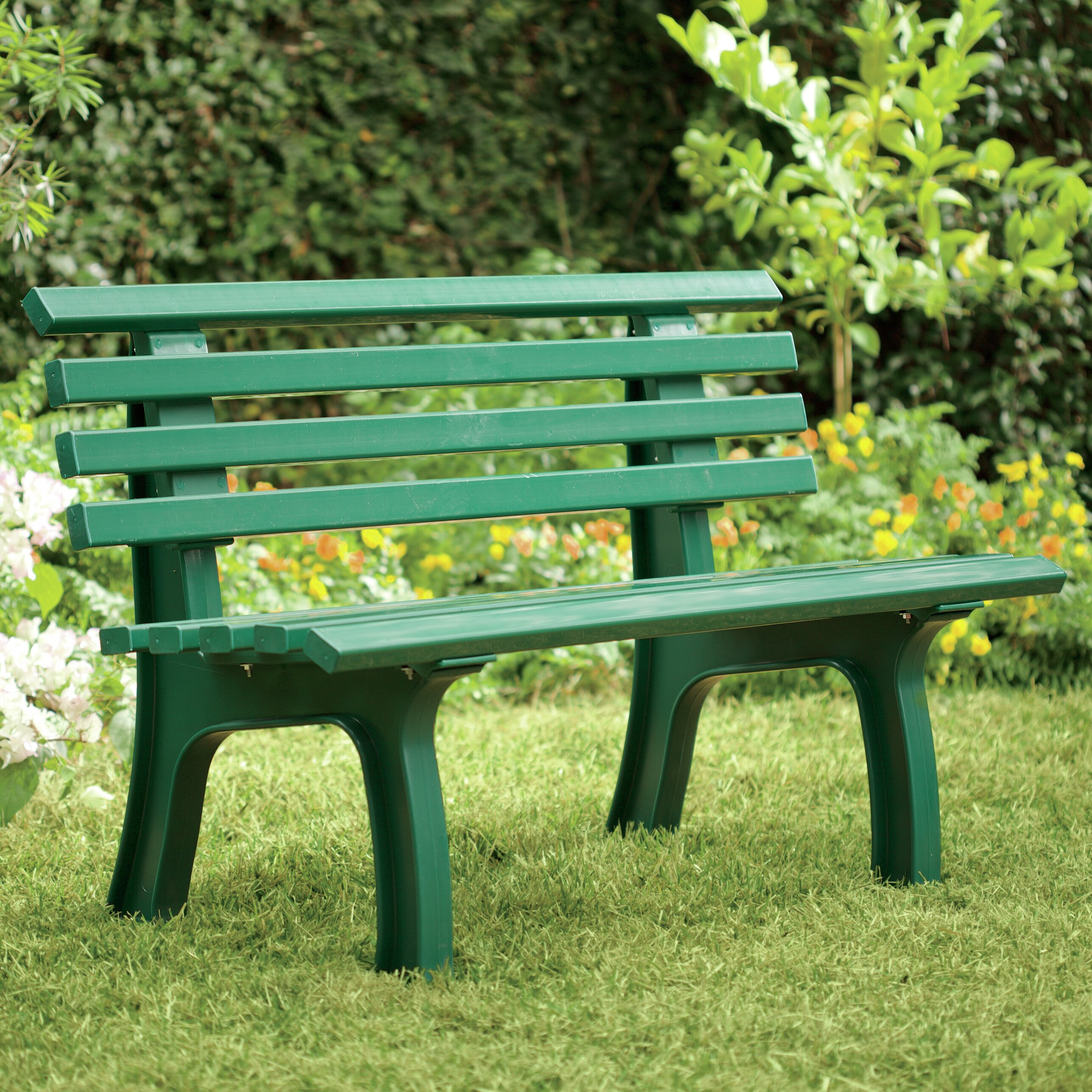 Hearth Bench: Plow & Hearth Resin Park Bench & Reviews