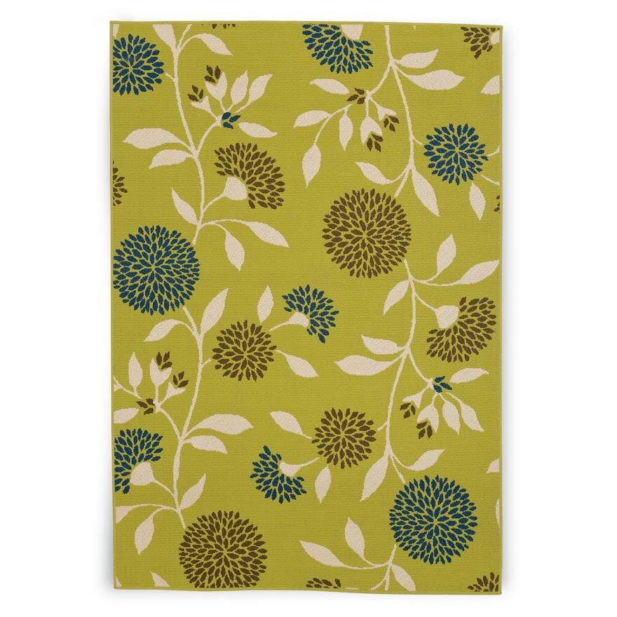 Plow & Hearth Floral Surry Rug Green Indoor/Outdoor Area