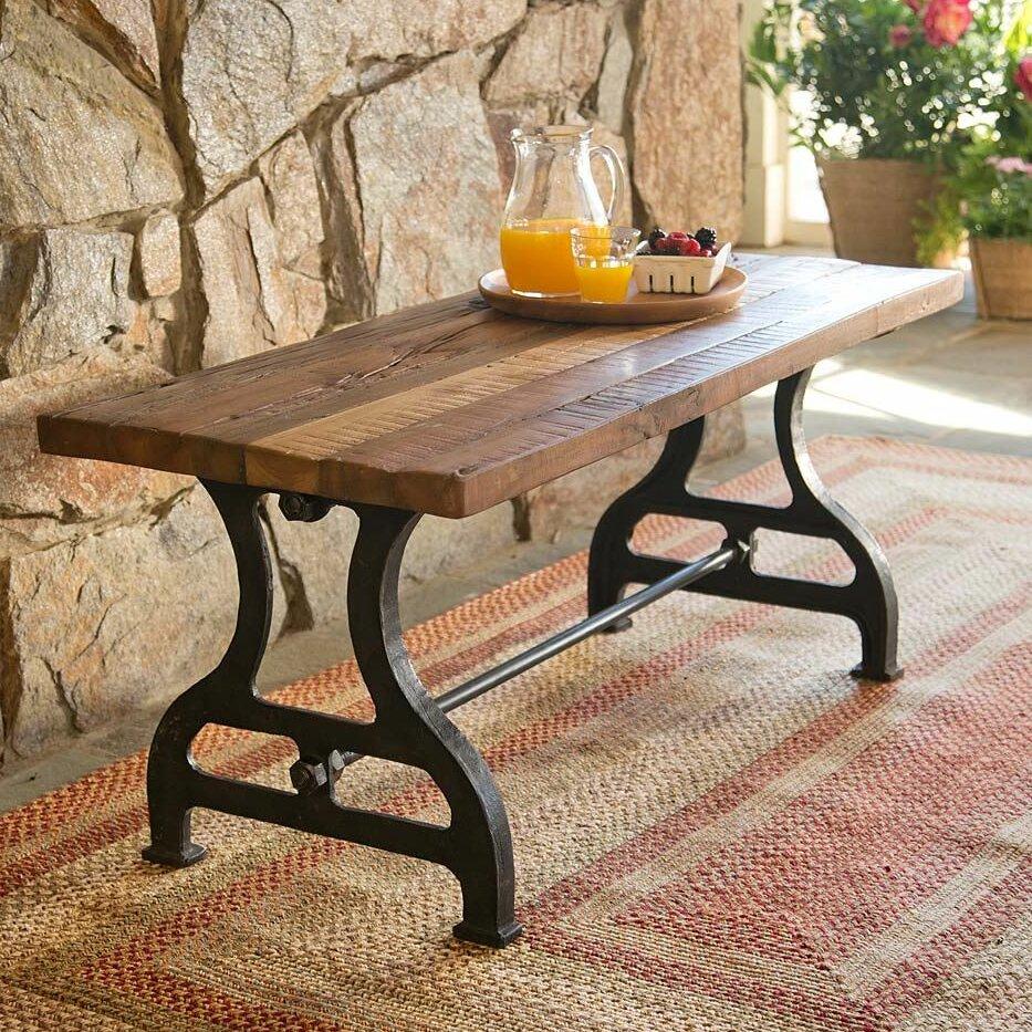 Hearth Bench: Plow & Hearth Reclaimed Wood / Iron Garden Bench & Reviews