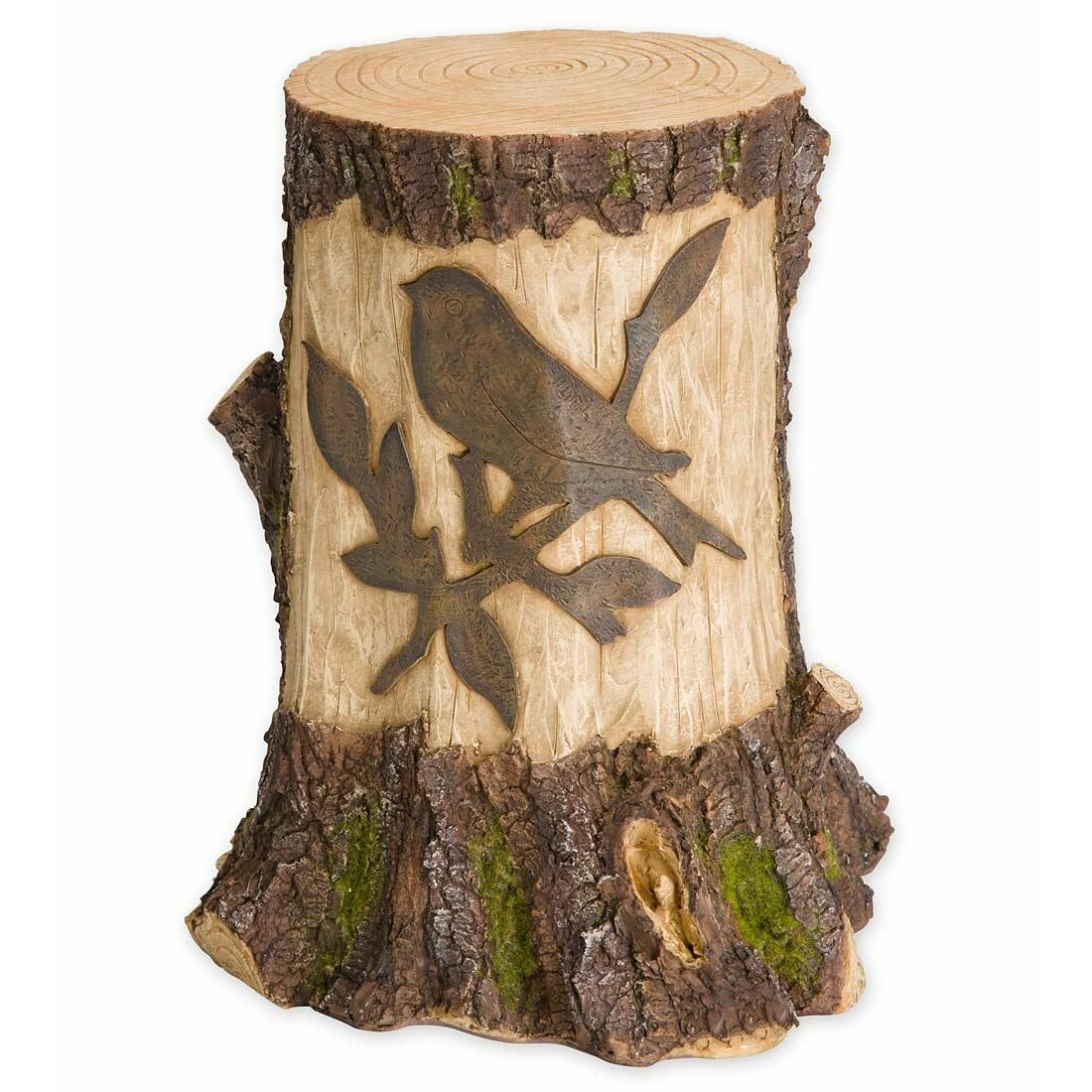 Plow Hearth Stump With Solar Lighted Garden Statue