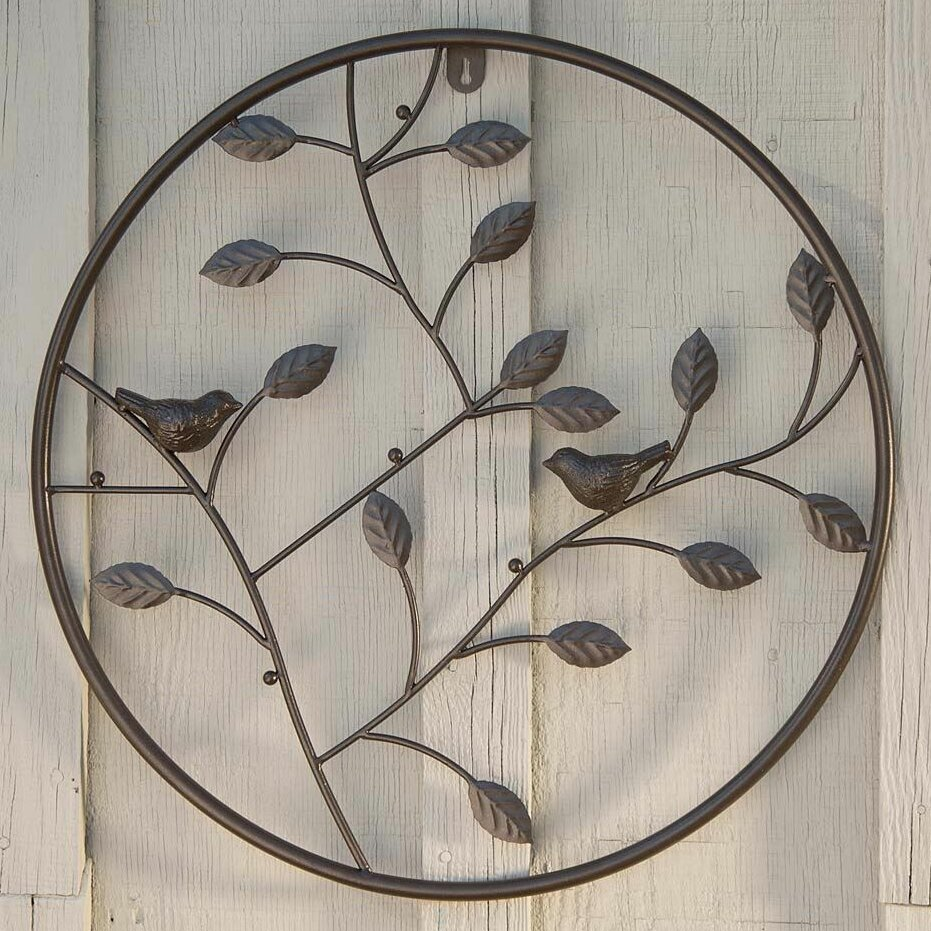 Plow hearth birds and branches circle wall decor for Circle wall art