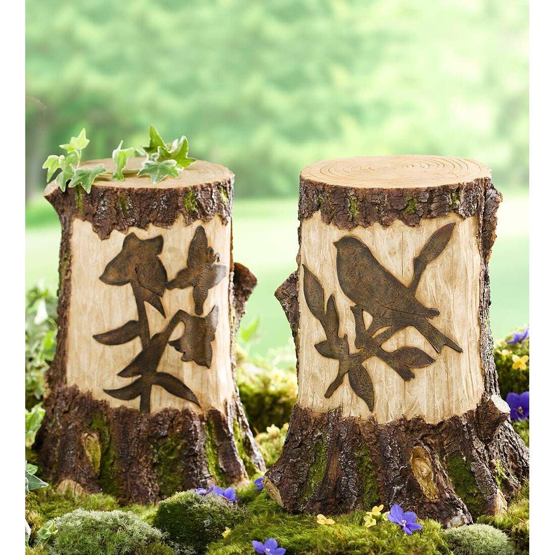 Plow Hearth Stump With Solar Lighted Garden Statue Wayfair
