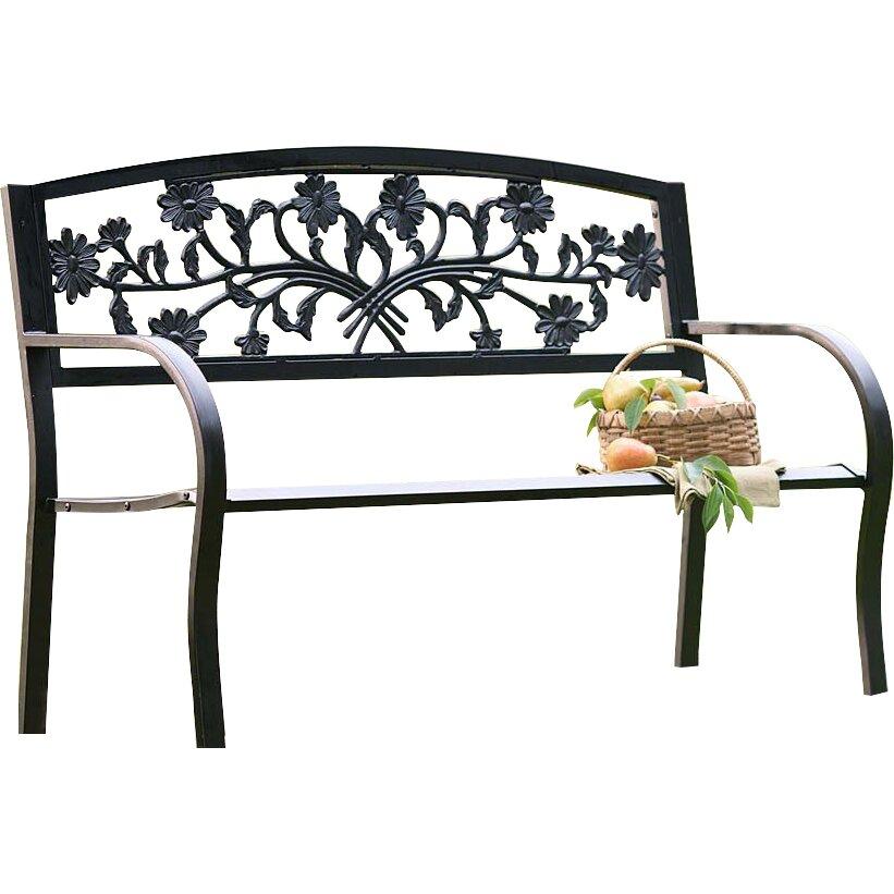 Hearth Bench: Plow & Hearth Floral Metal Garden Bench & Reviews