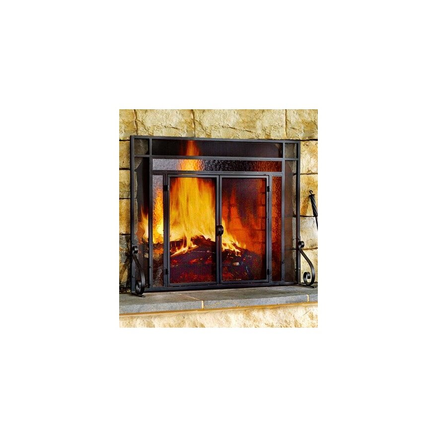 Plow amp Hearth GlassSteel Fireplace Screen amp Reviews Wayfair : Large Steel Fire Screen with Two Doors and Tempered Glass Accents 11495 BK from www.wayfair.com size 880 x 880 jpeg 95kB