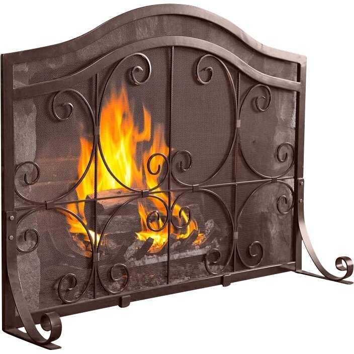 plow hearth small crest flat guard fireplace screen