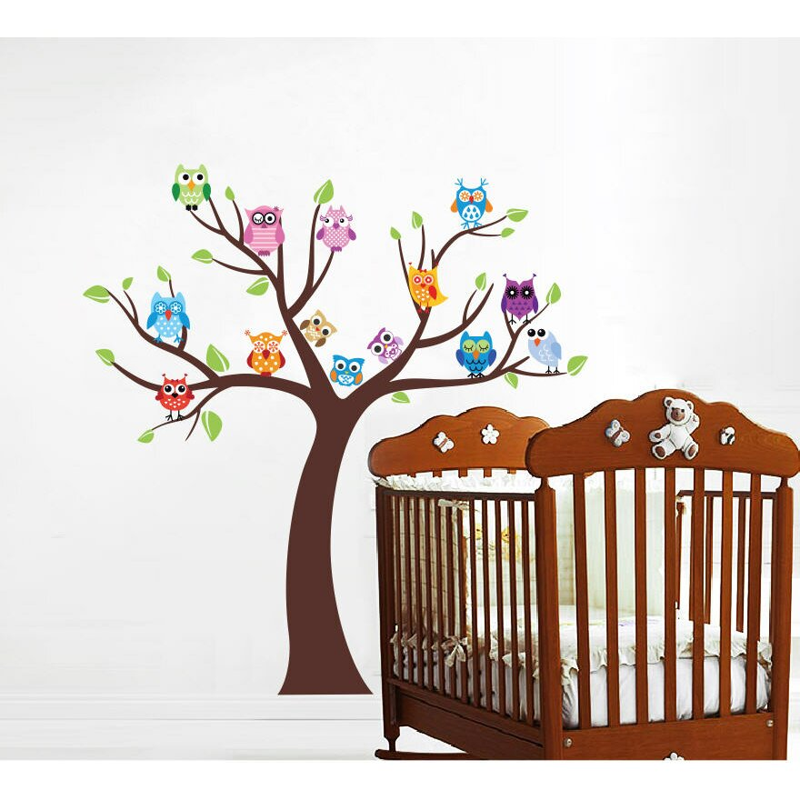 pop decors owls and tree wall decal reviews wayfair. Black Bedroom Furniture Sets. Home Design Ideas