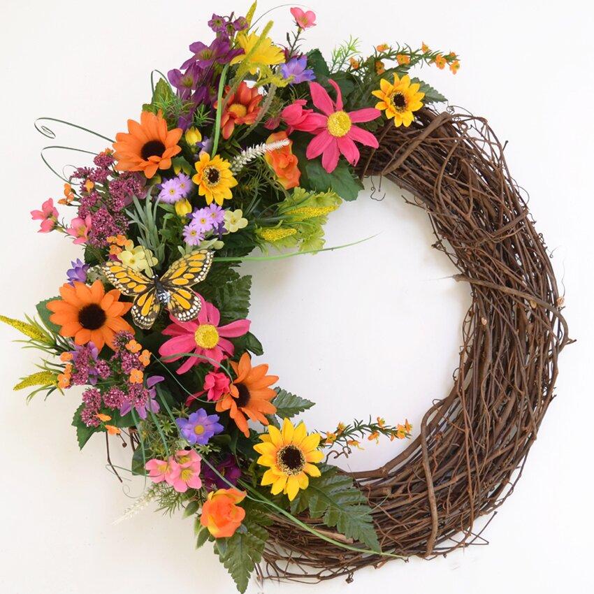 "Home Decor Wreaths: Floral Home Decor 19"" Silk Summer Wildflower Wreath"