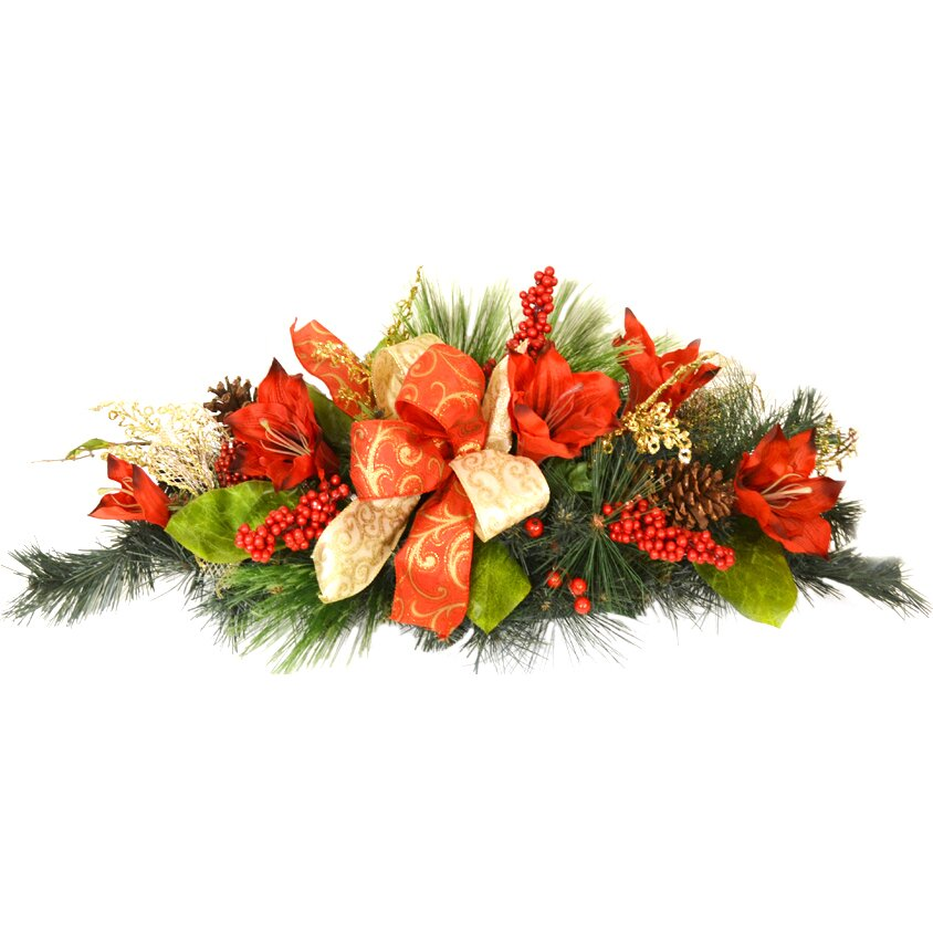 Floral home decor amaryllis christmas centerpiece for California floral and home christmas decorations