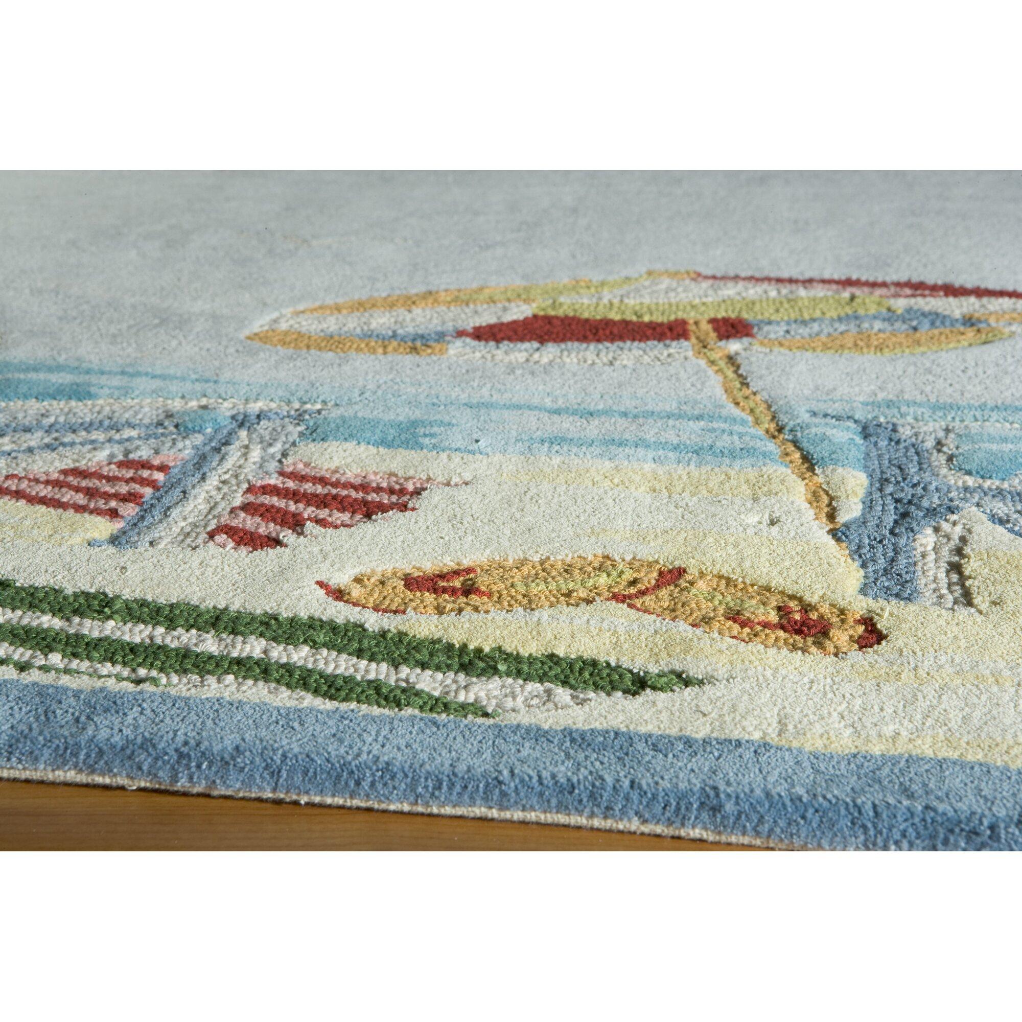 Beach Accent Rug: Momeni Coastal At The Beach Handmade Blue Area Rug