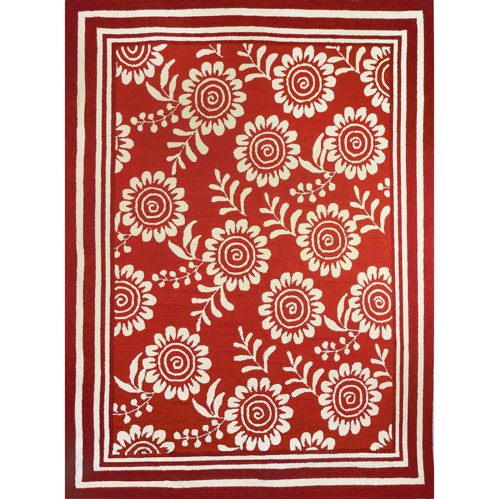 Homefires ticking floral red beige indoor outdoor area rug for Red floral area rug