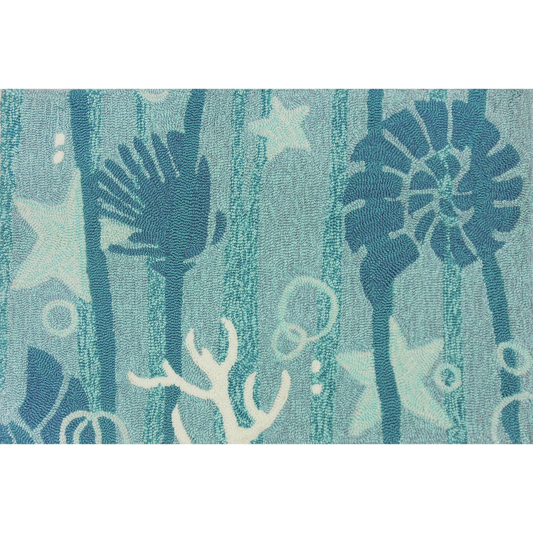 Homefires indoor outdoor hooked turquoise white indoor for Turquoise area rug