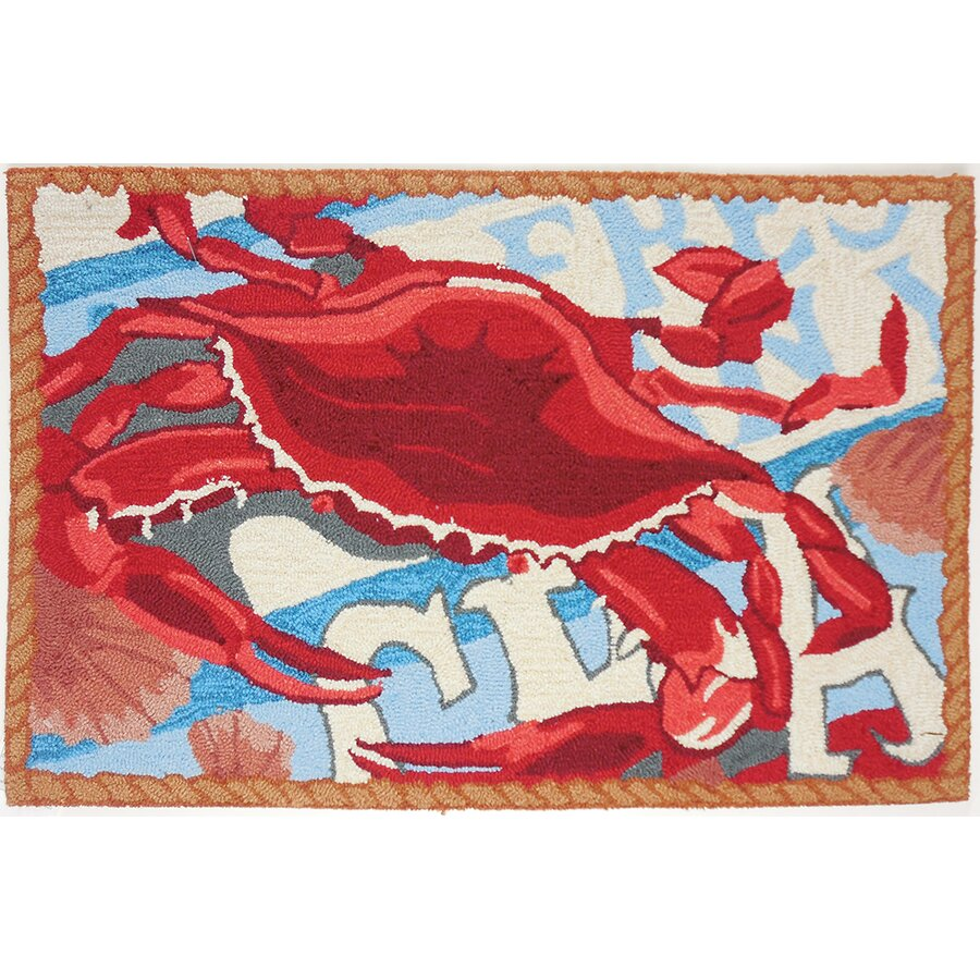 Homefires fresh catch crab red blue area rug reviews for Red and blue area rug