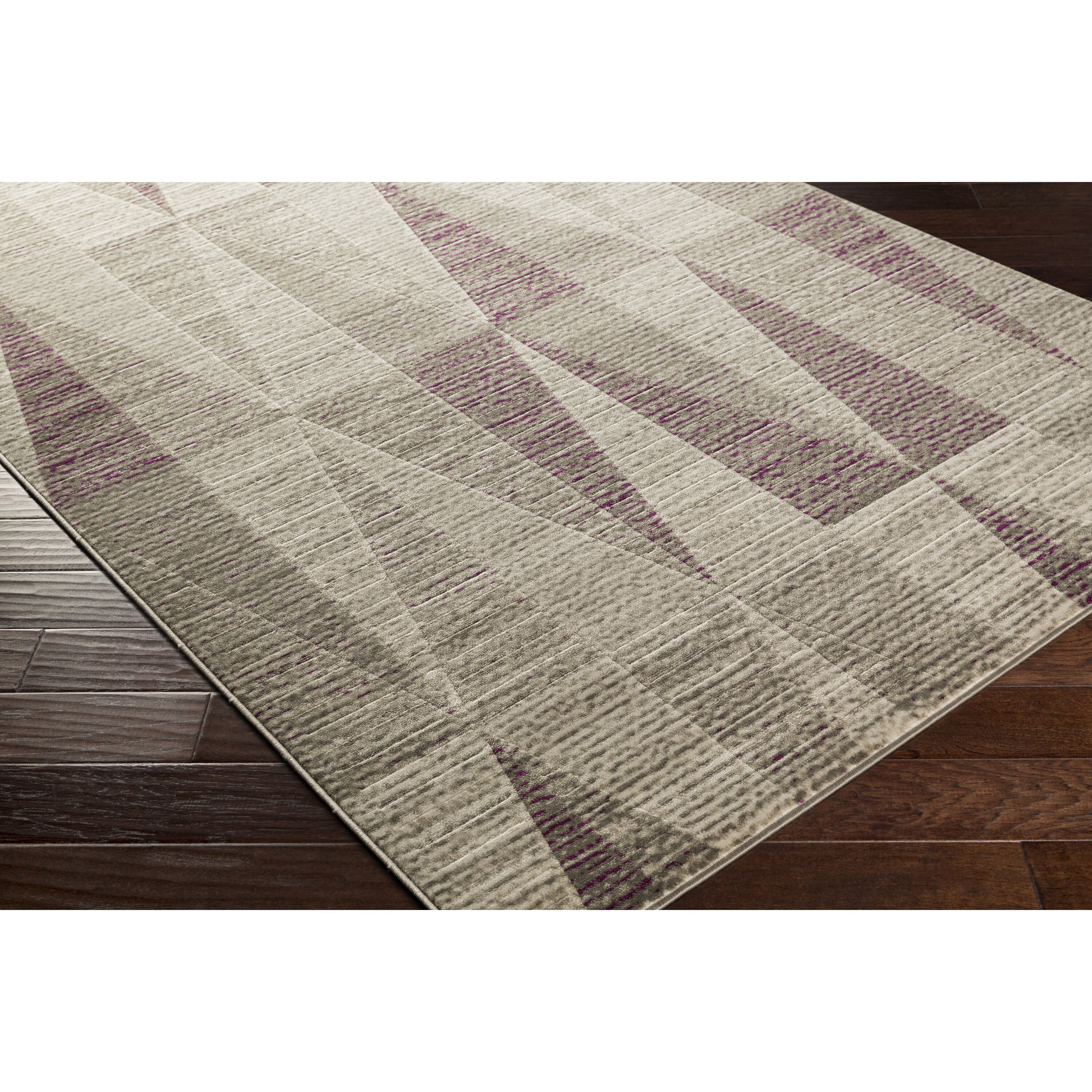 Langley Street Lundgren Light Grey/Eggplant Area Rug