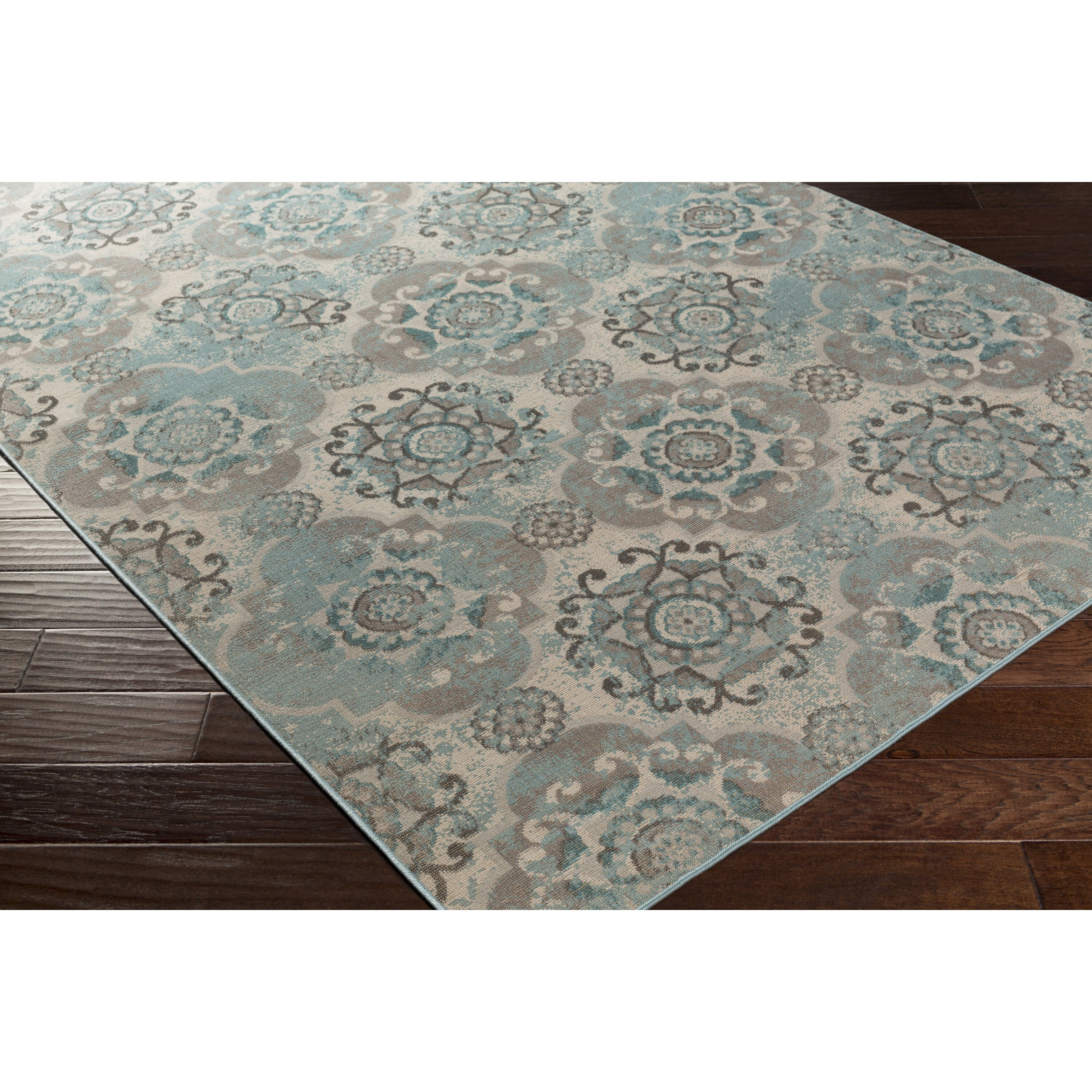Lark Manor Clotilde Teal/Beige Area Rug & Reviews
