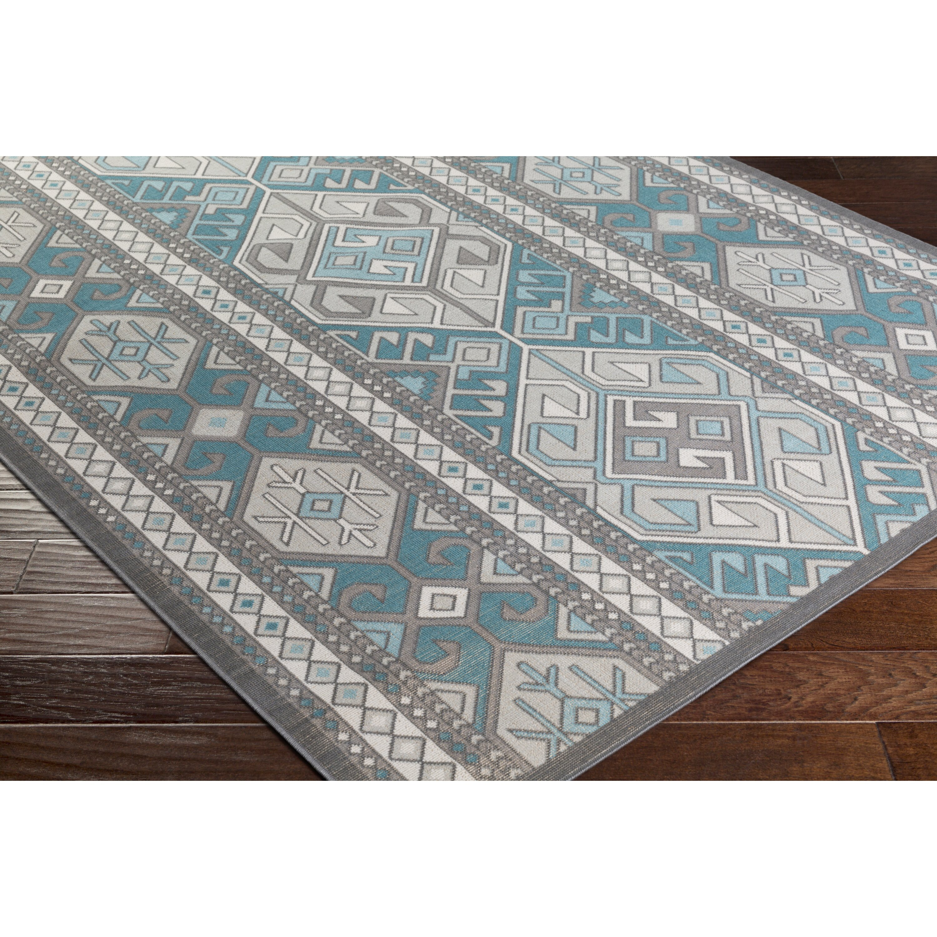 Bungalow Rose Septfontaines Teal/Beige Area Rug & Reviews