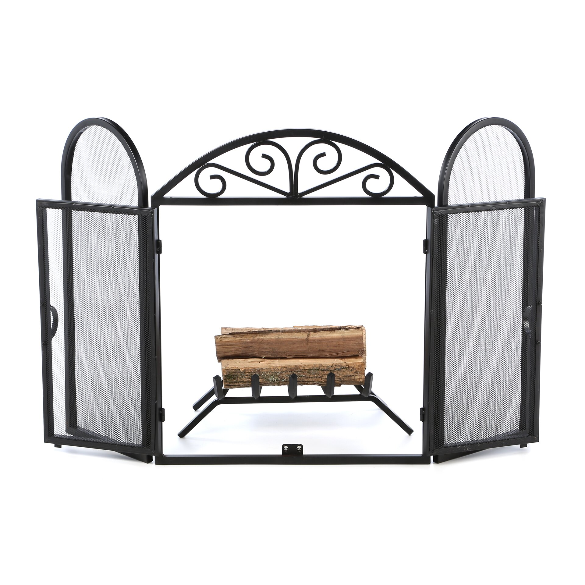 Uniflame 3 Panel Wrought Iron Fireplace Screen With Opening Doors Reviews Wayfair