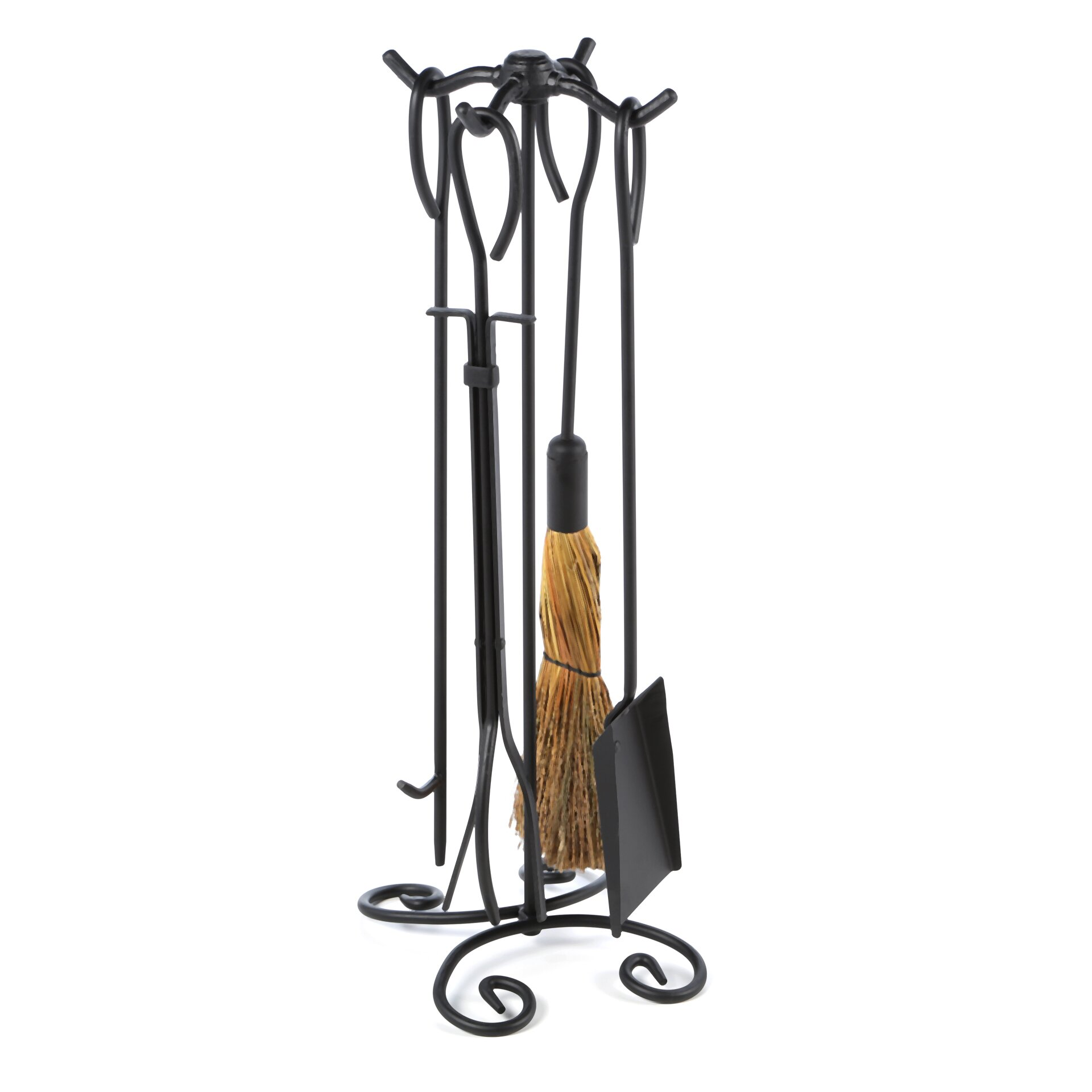 Uniflame 4 Piece Wrought Iron Ring Fireplace Tool Set With Stand Reviews Wayfair