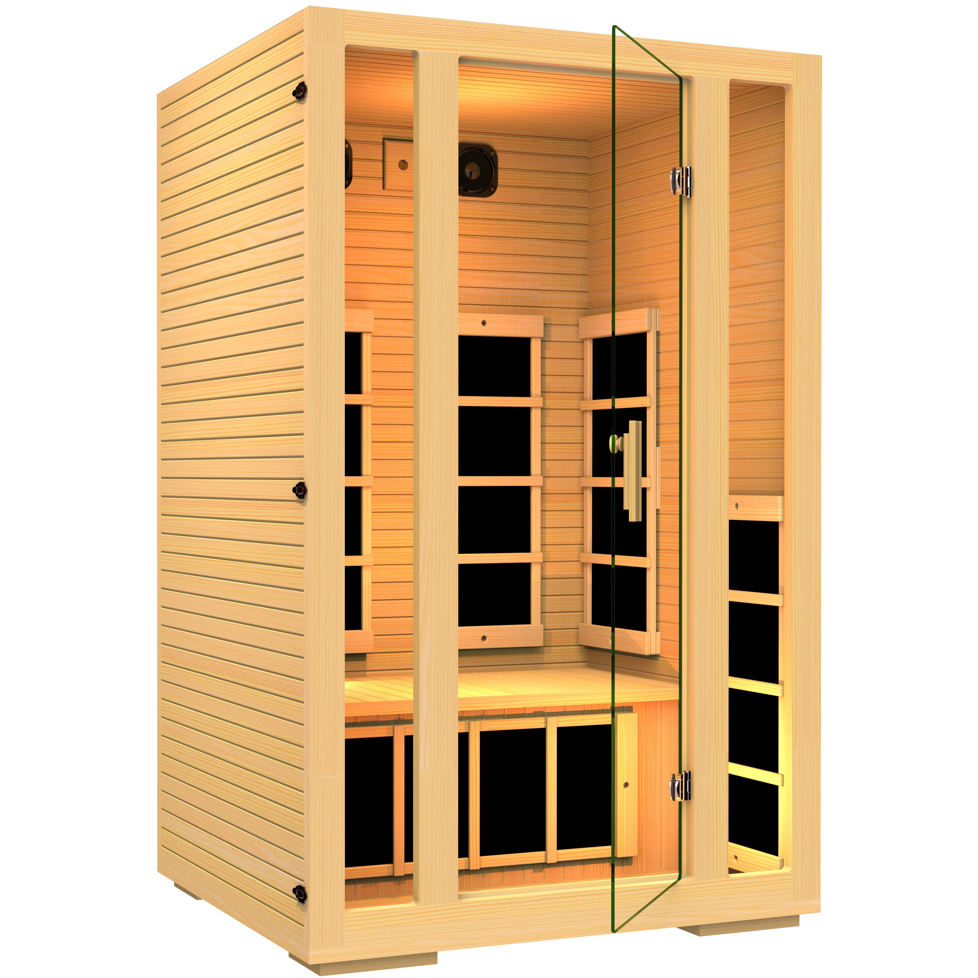 jnh lifestyles joyous 2 person carbon far infrared sauna reviews wayfair. Black Bedroom Furniture Sets. Home Design Ideas