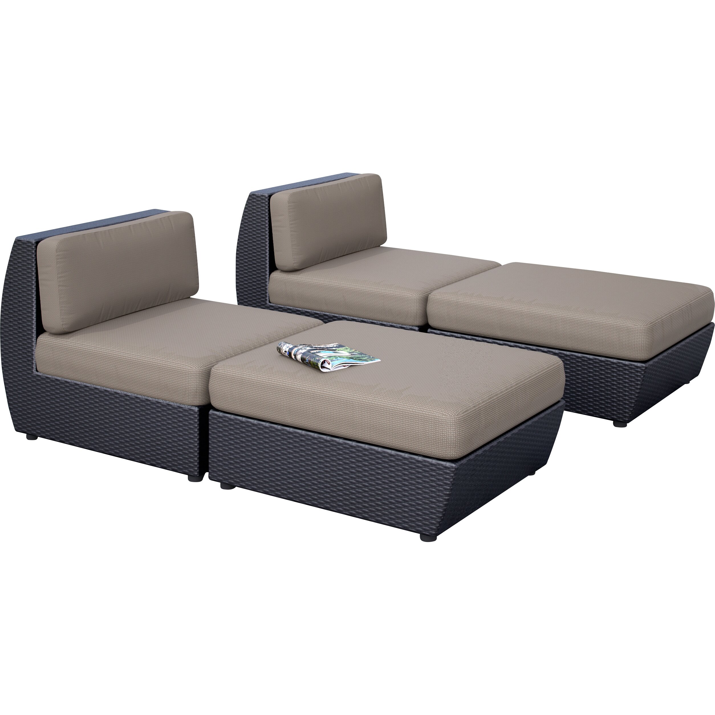 dCOR design Seattle 4 Piece Chaise Lounge Set with Cushion