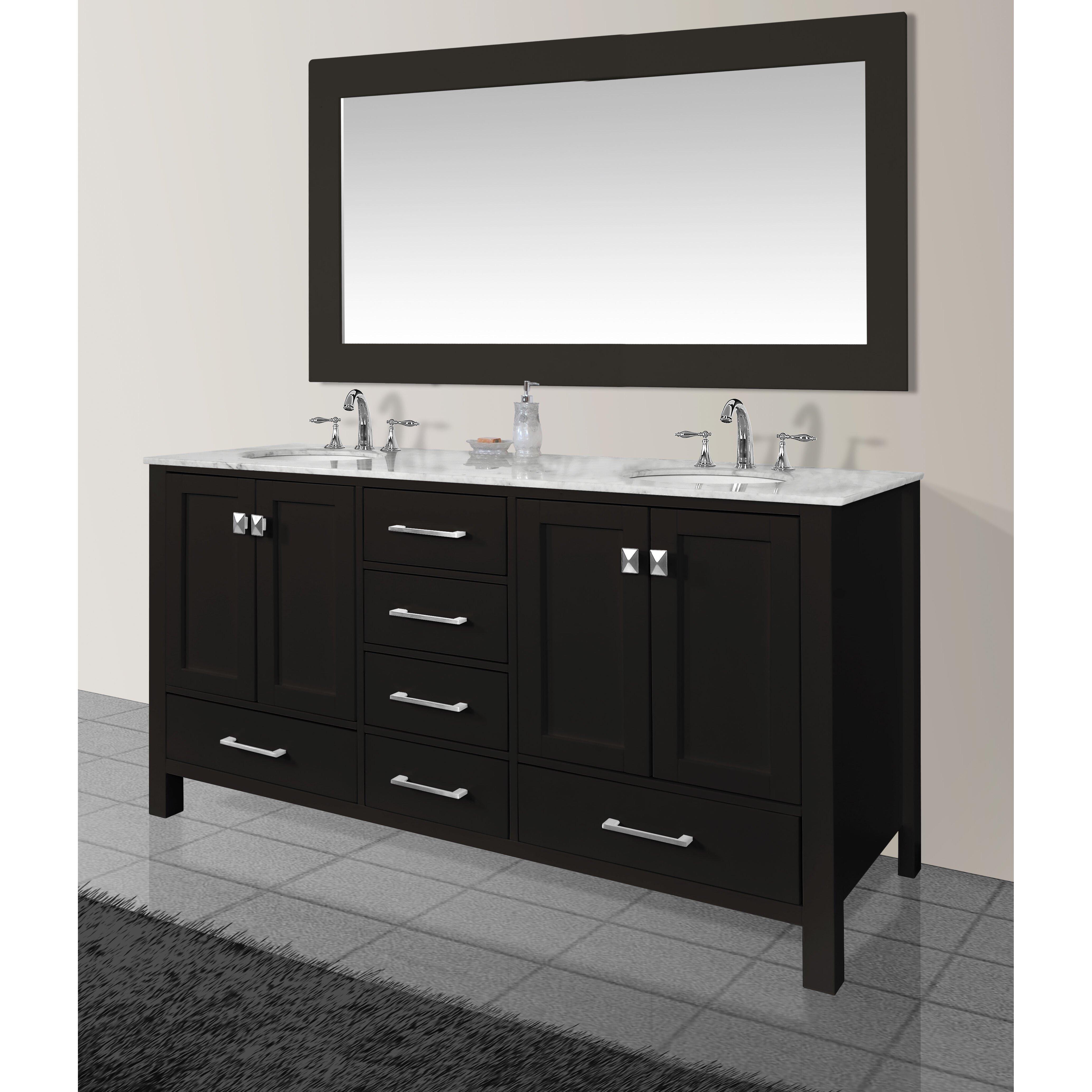 "dCOR design Embrey 72"" Double Sink Bathroom Vanity Set with Mirror &"