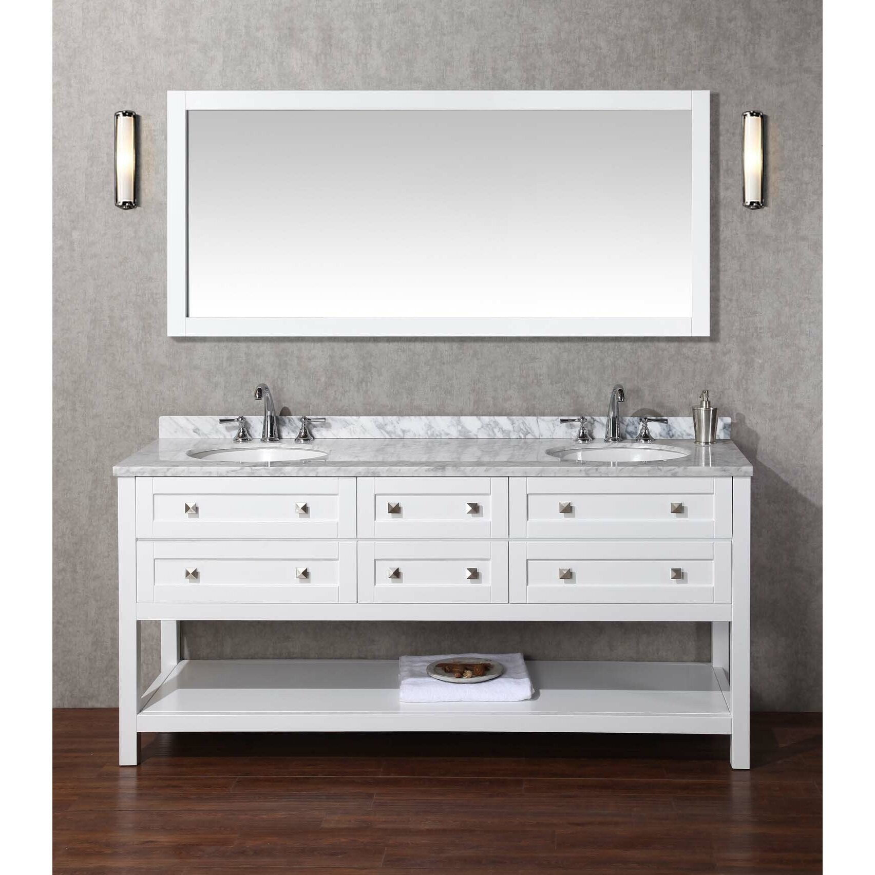 Dcor design albia 72 double bathroom vanity set with for Bathroom 72 inch vanity