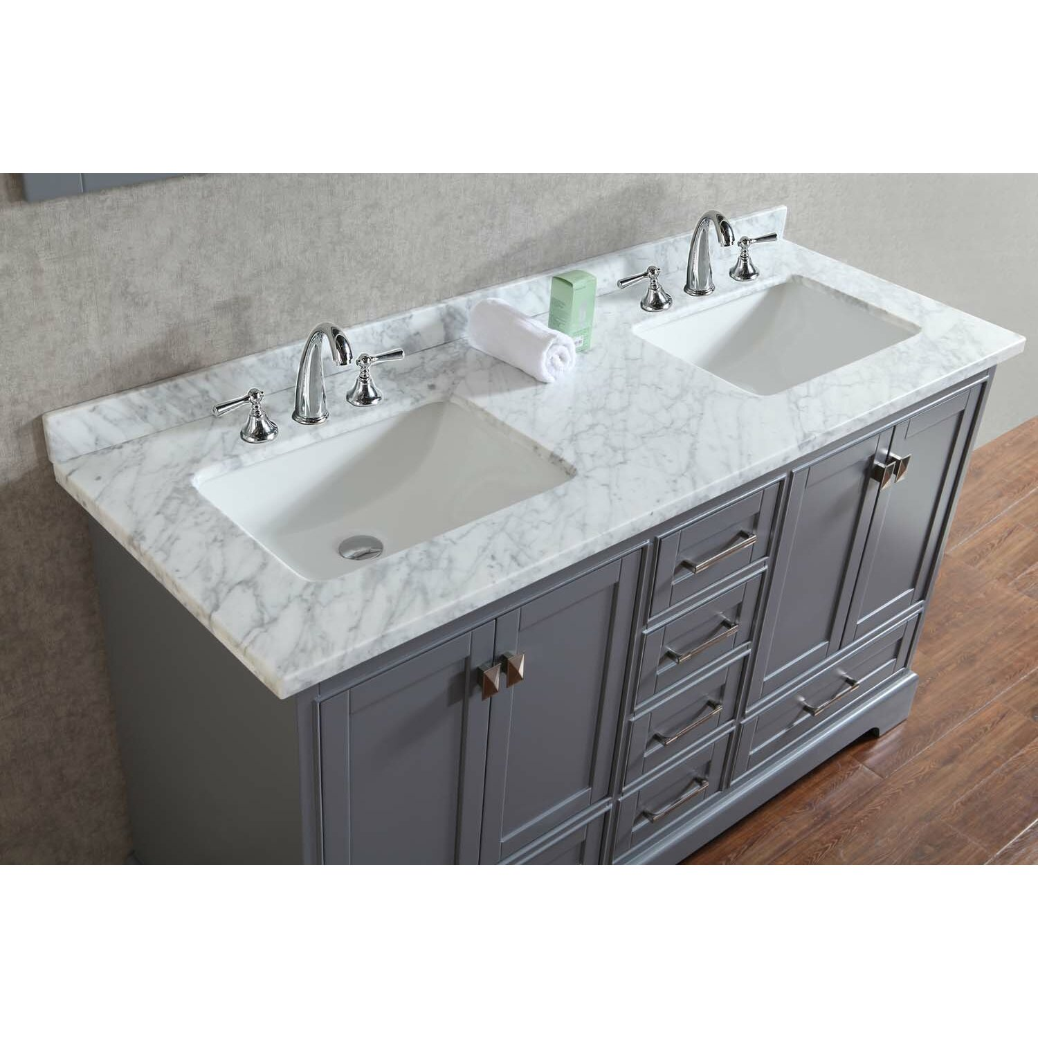 DCOR Design Barrington 60 Double Sink Bathroom Vanity Set With Mirror