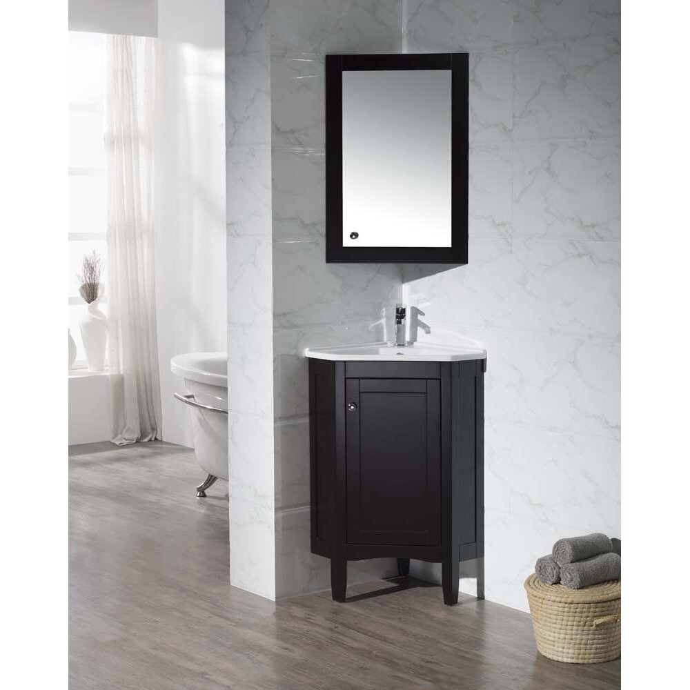 "DCOR Design Argo 25"" Single Corner Bathroom Vanity Set"