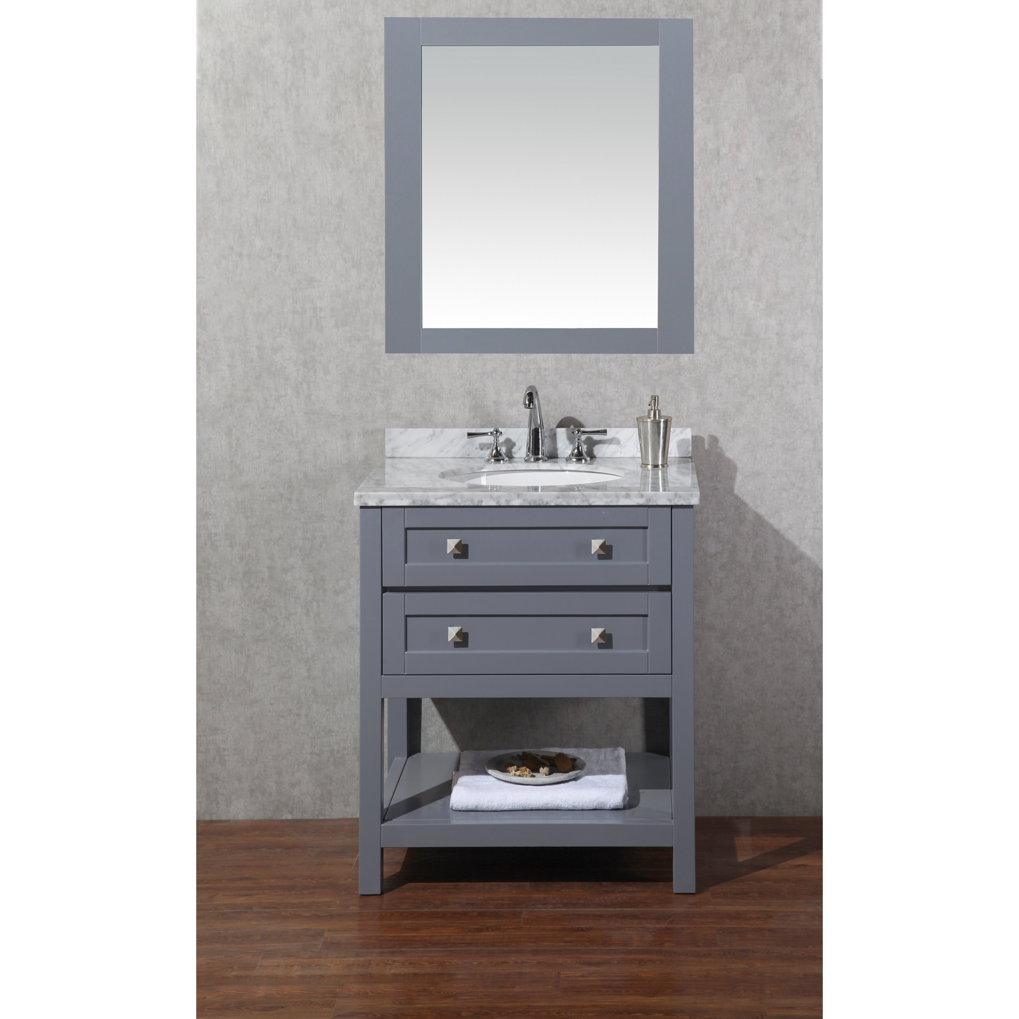 Dcor design albia 30 single modern bathroom vanity set for Mirrored bathroom set