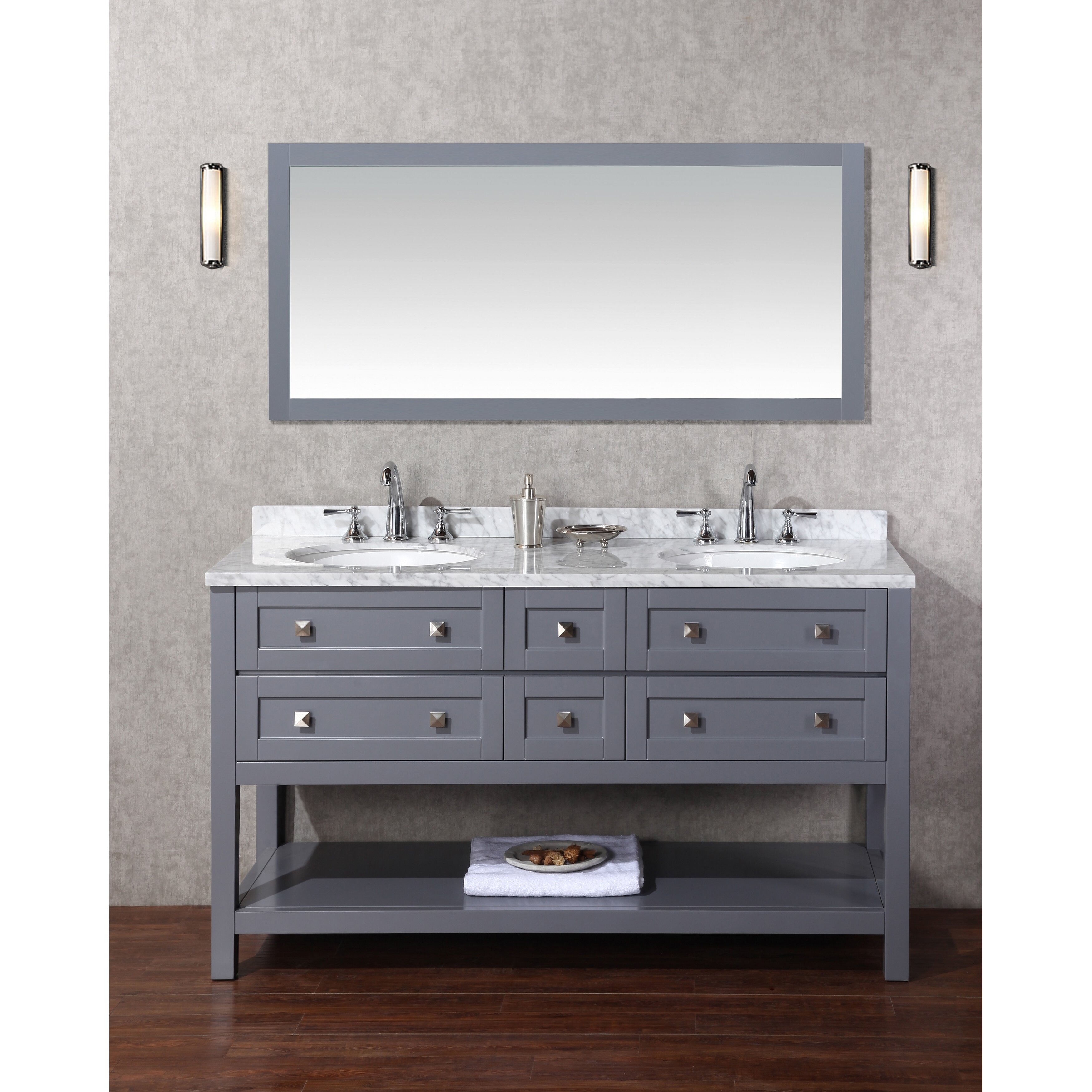 Dcor design albia 60 double modern bathroom vanity set with mirror reviews wayfair - Kona modern bathroom vanity set ...