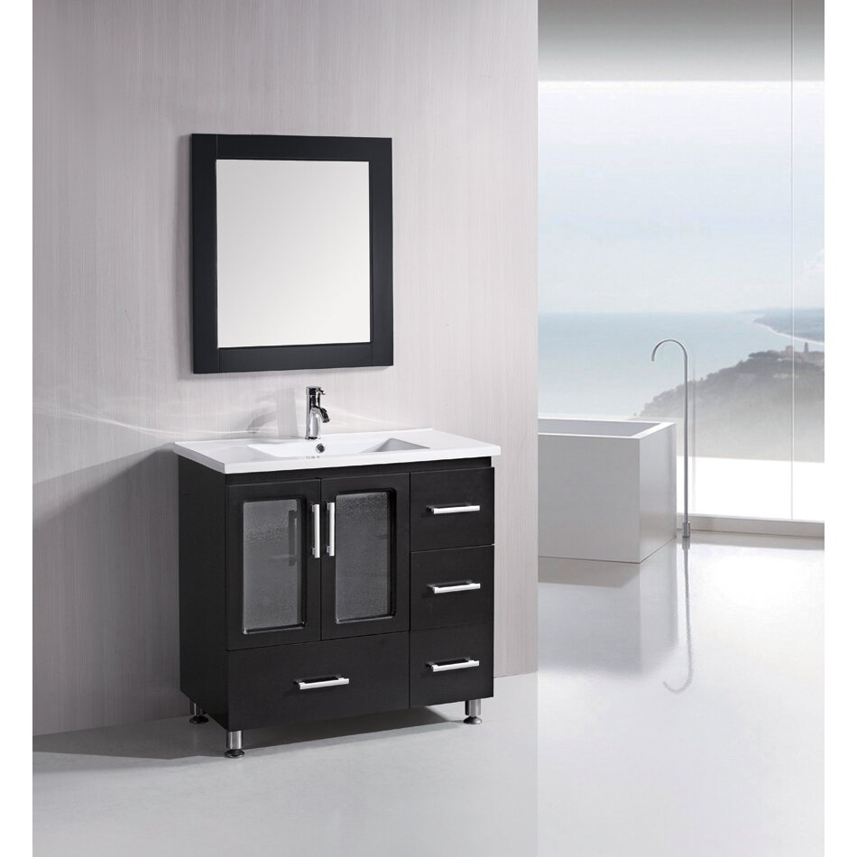 Dcor design pratt 36 single bathroom vanity set with for Bathroom mirror set
