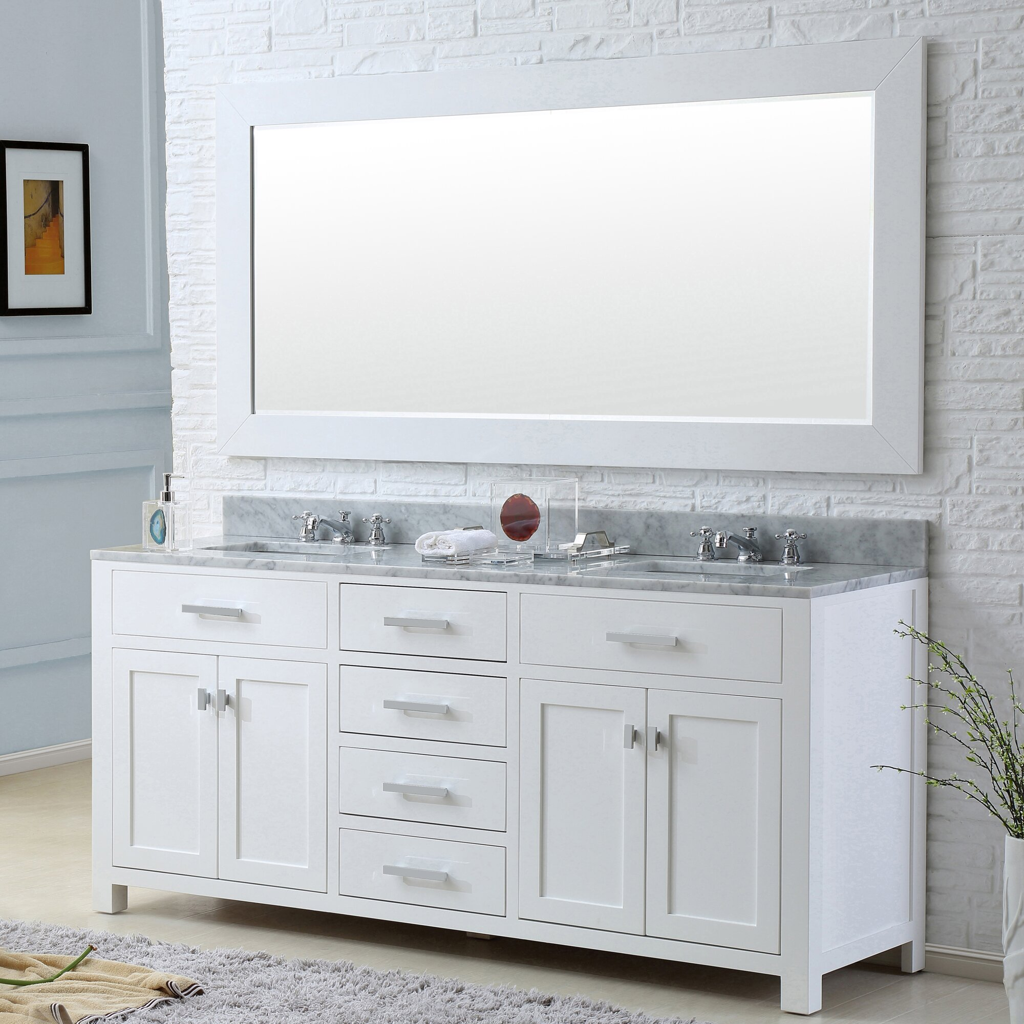 Dcor Design Creighton 60 Double Bathroom Vanity Set With Mirror Reviews Wayfair