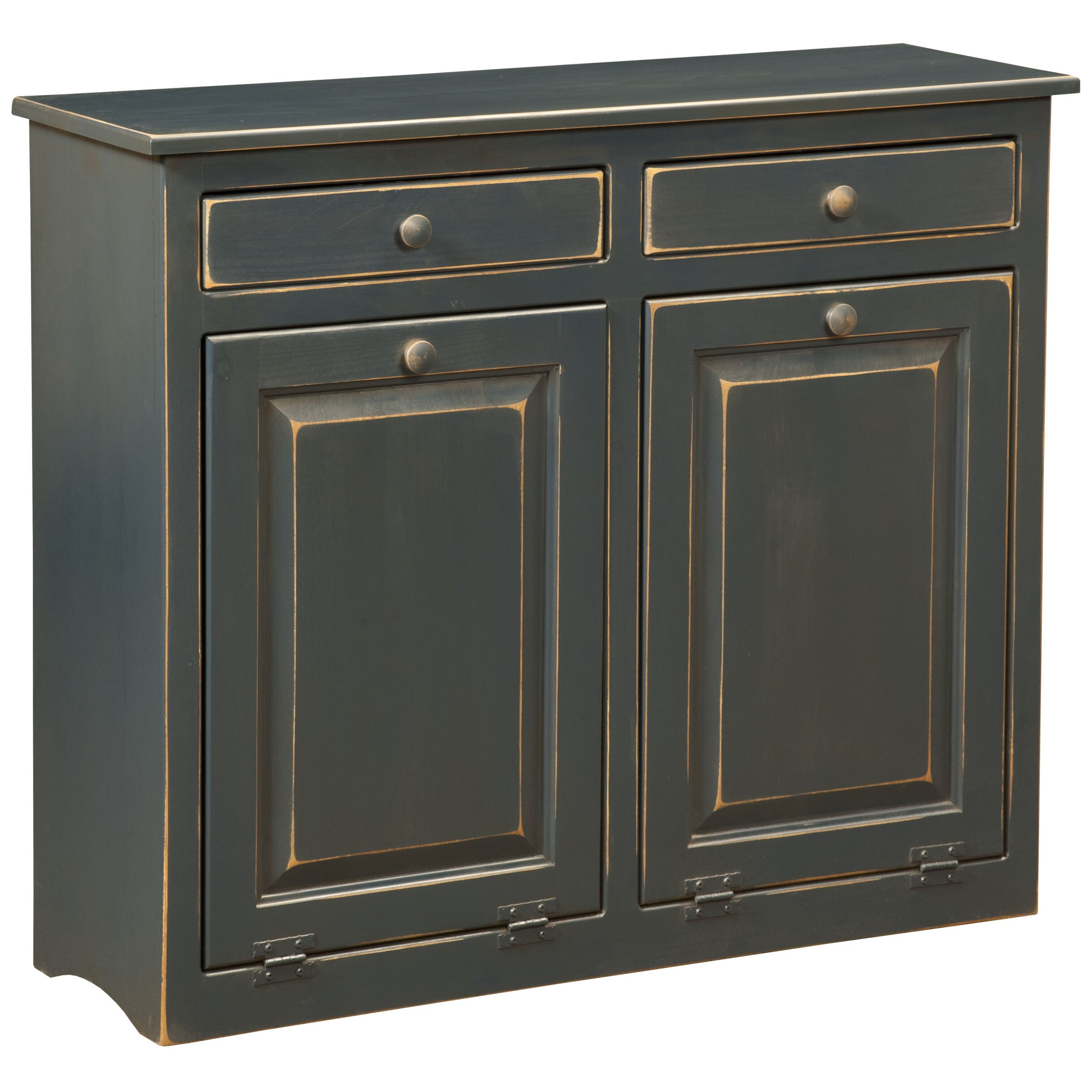 Dcor design double cabinet with trash bin wayfair for Double kitchen cabinets