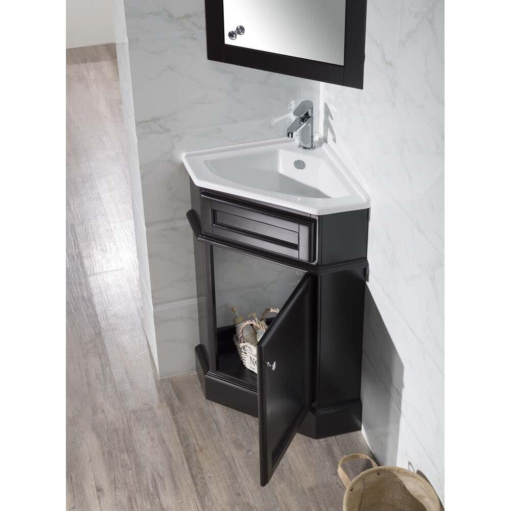 Dcor design orson 26 5 single corner bathroom vanity set for Corner vanity mirror