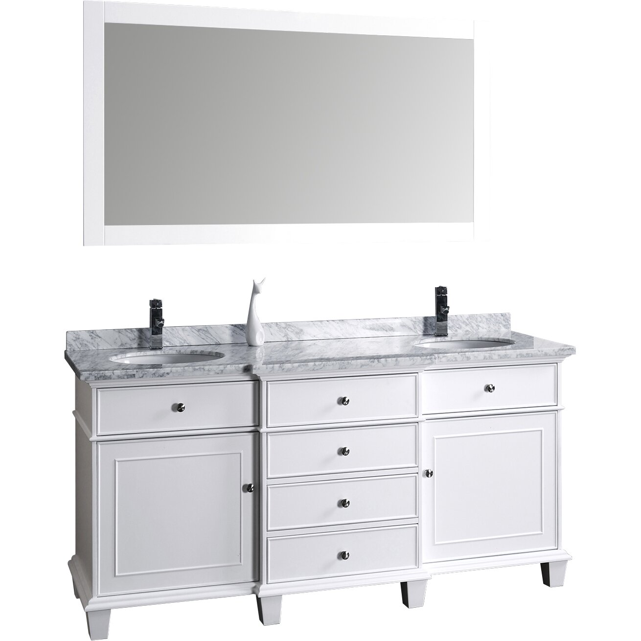 Dcor design melton 60 double sink bathroom vanity set with mirror reviews wayfair Bathroom sink and vanity sets