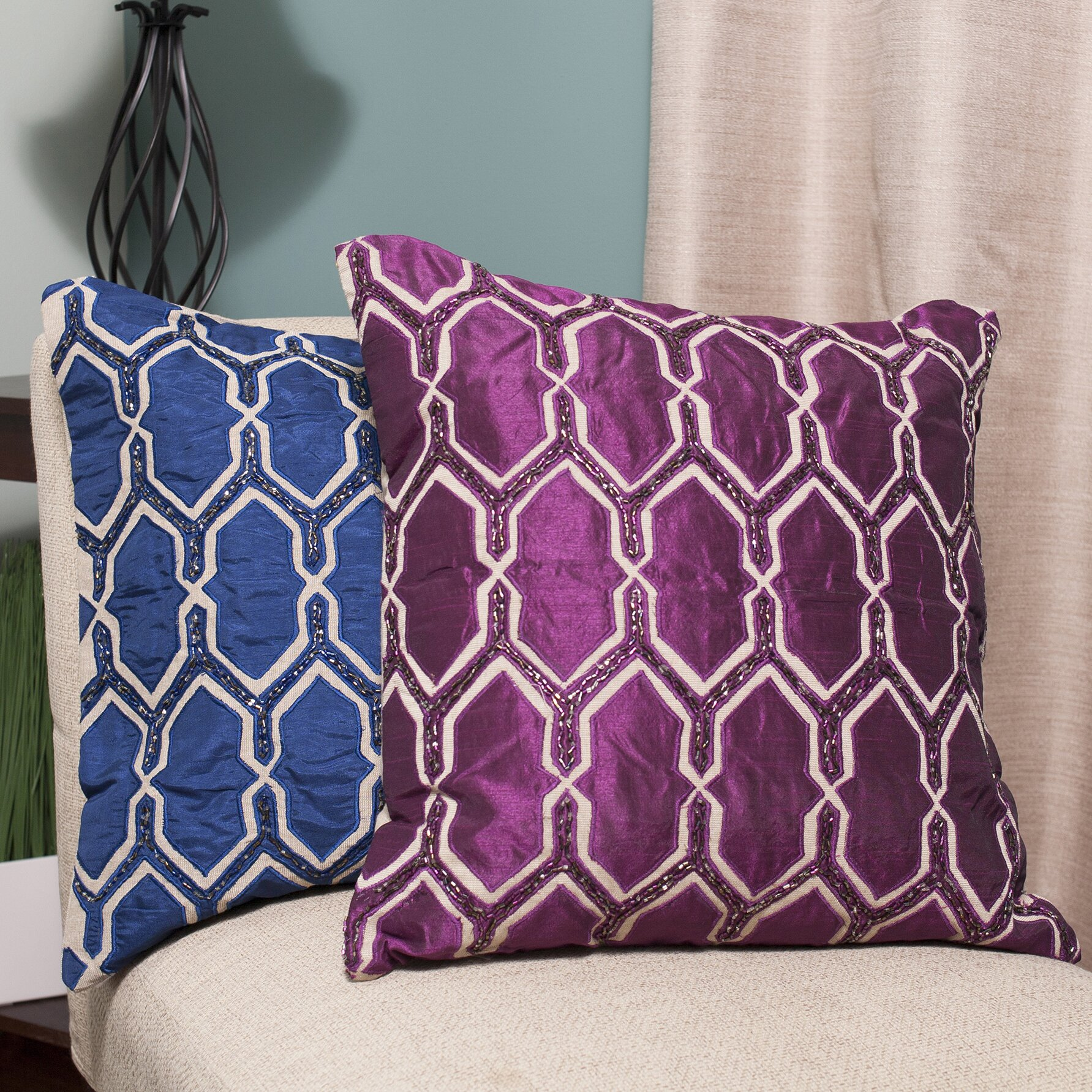 Sweet home collection luxury zippered beaded decorative for Luxury decorative throw pillows