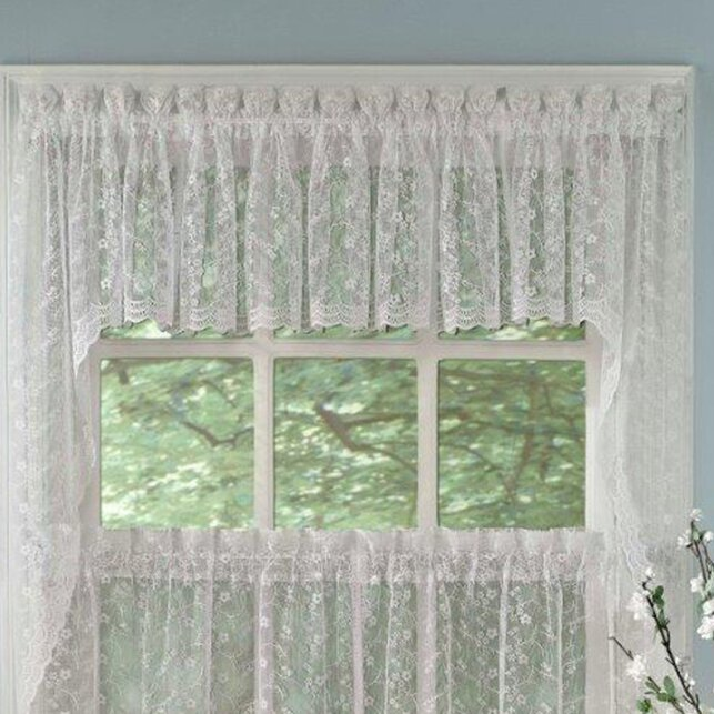 sweet home collection priscilla lace swag curtain valance