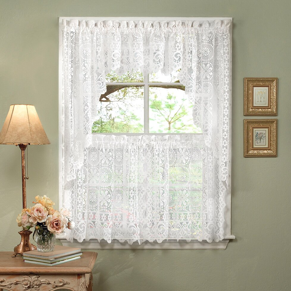 Sweet home collection luxurious old world style lace for Old world curtains and drapes