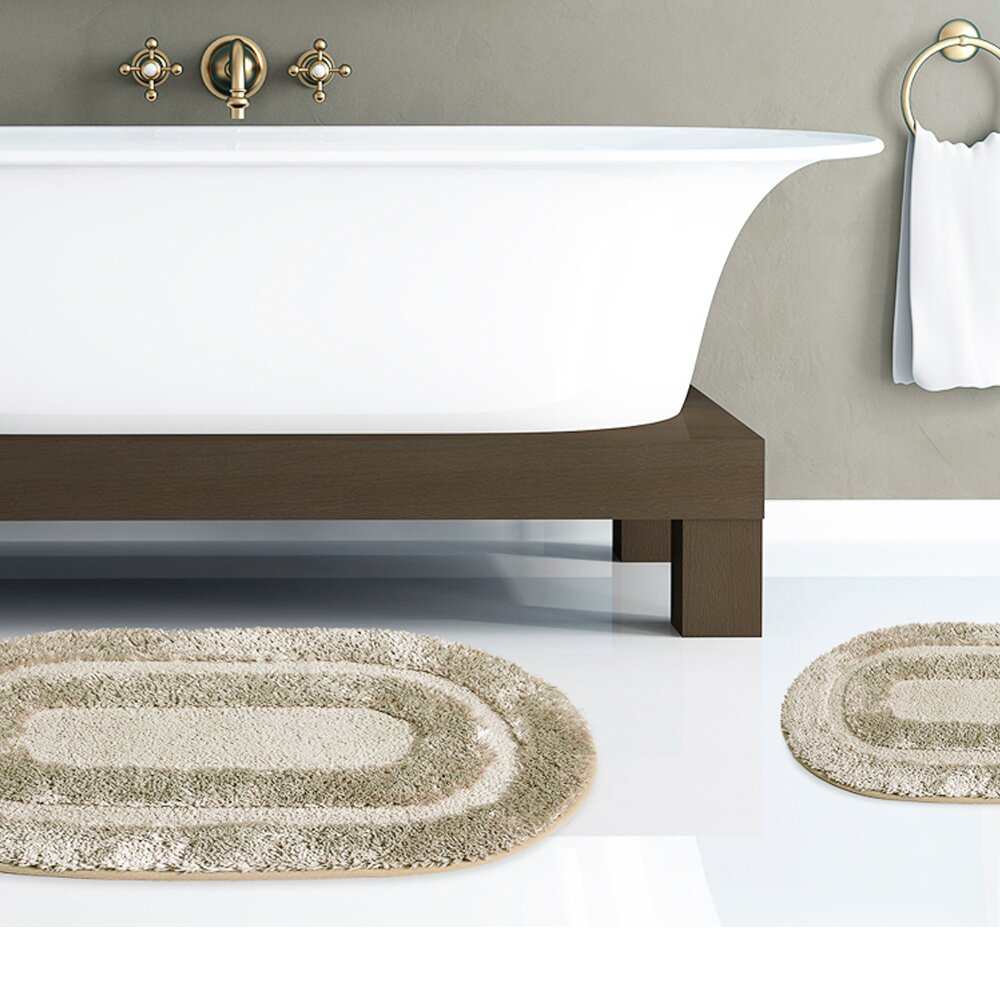 Plush Bathroom Rug Sets: Sweet Home Collection 2 Piece Plush Polyester Microfiber