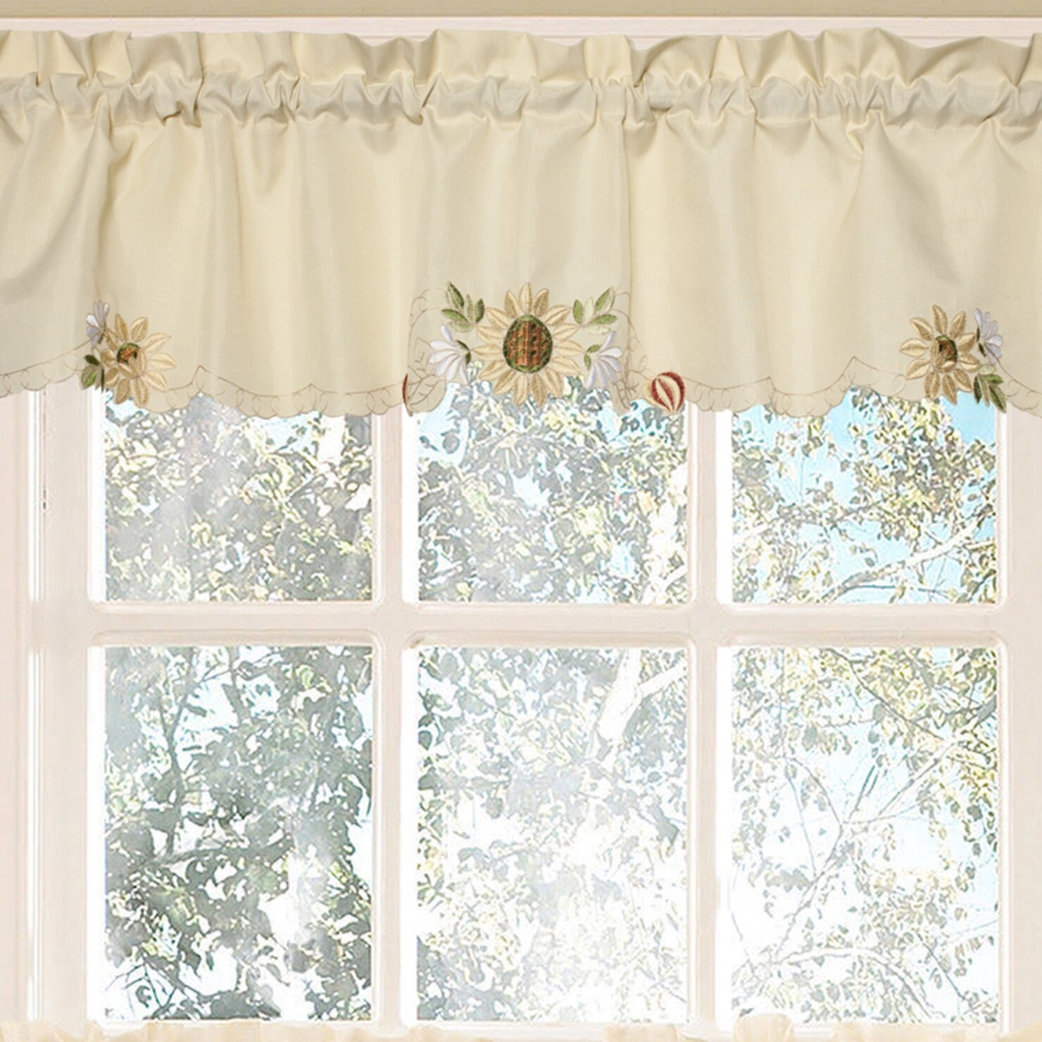 Sweet Home Collection Sunflower Embroidered Kitchen 60 Curtain Valance Reviews Wayfair