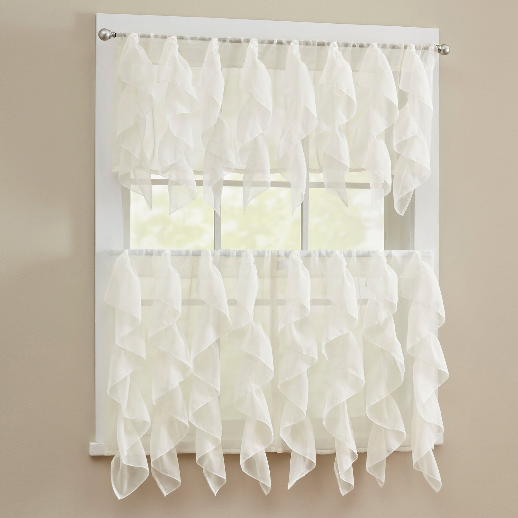 Elegant Kitchen Curtains Valances: Sweet Home Collection Elegant Sheer Voile Vertical Ruffle