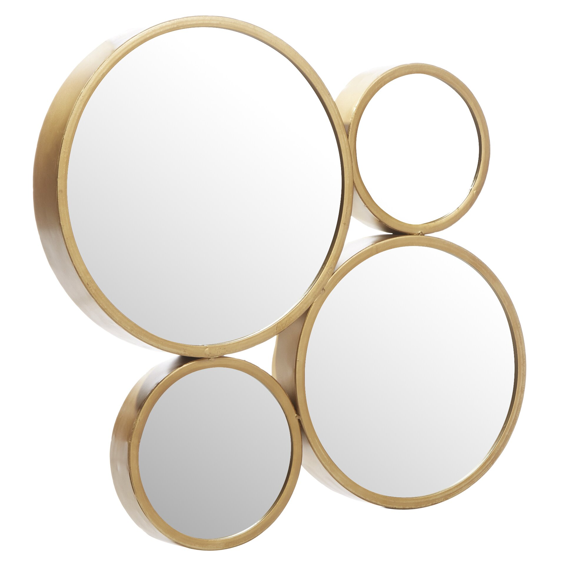 Mercury row 4 circle iron mirror set reviews wayfair for Circle mirror