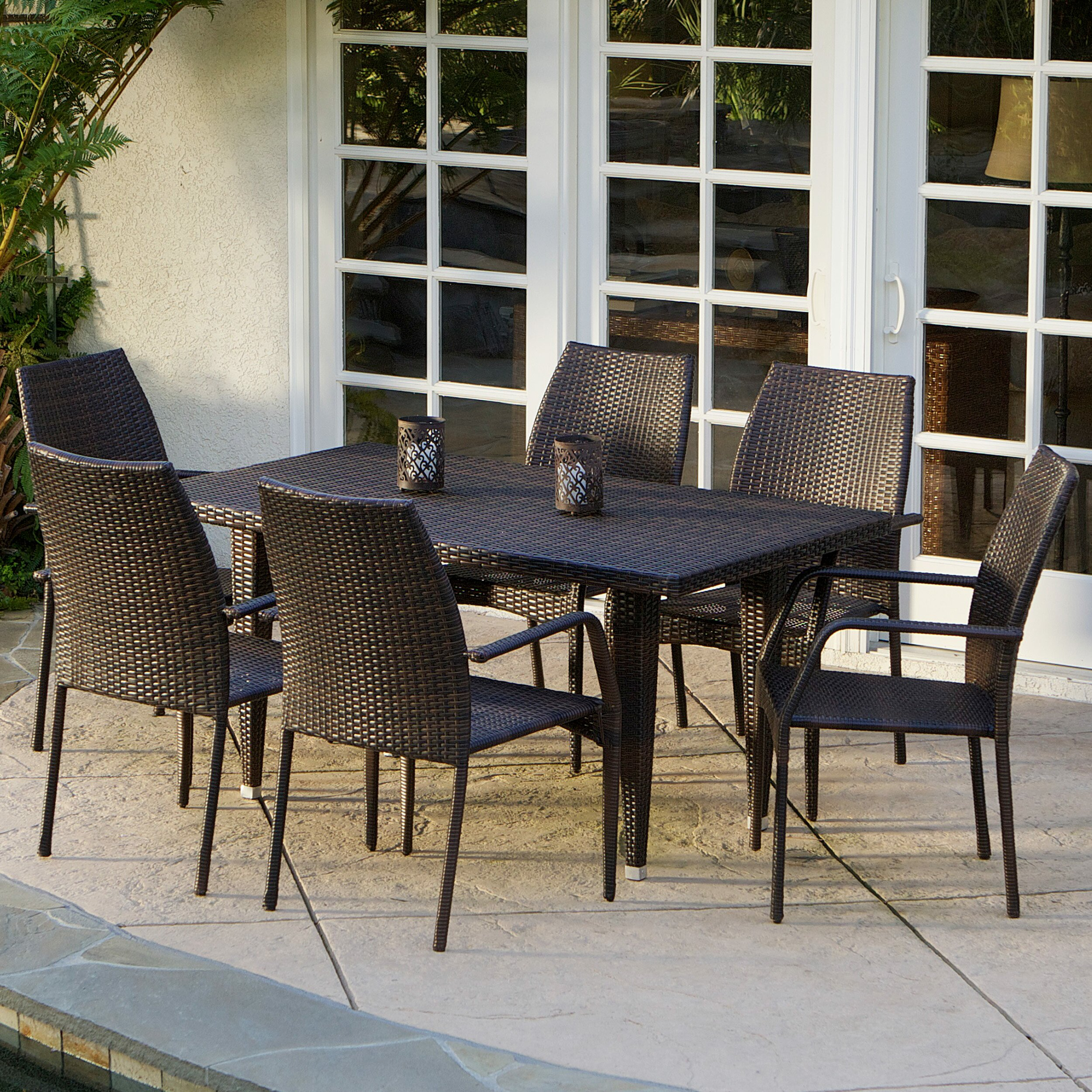 mercury row panos 7 piece outdoor dining set reviews. Black Bedroom Furniture Sets. Home Design Ideas
