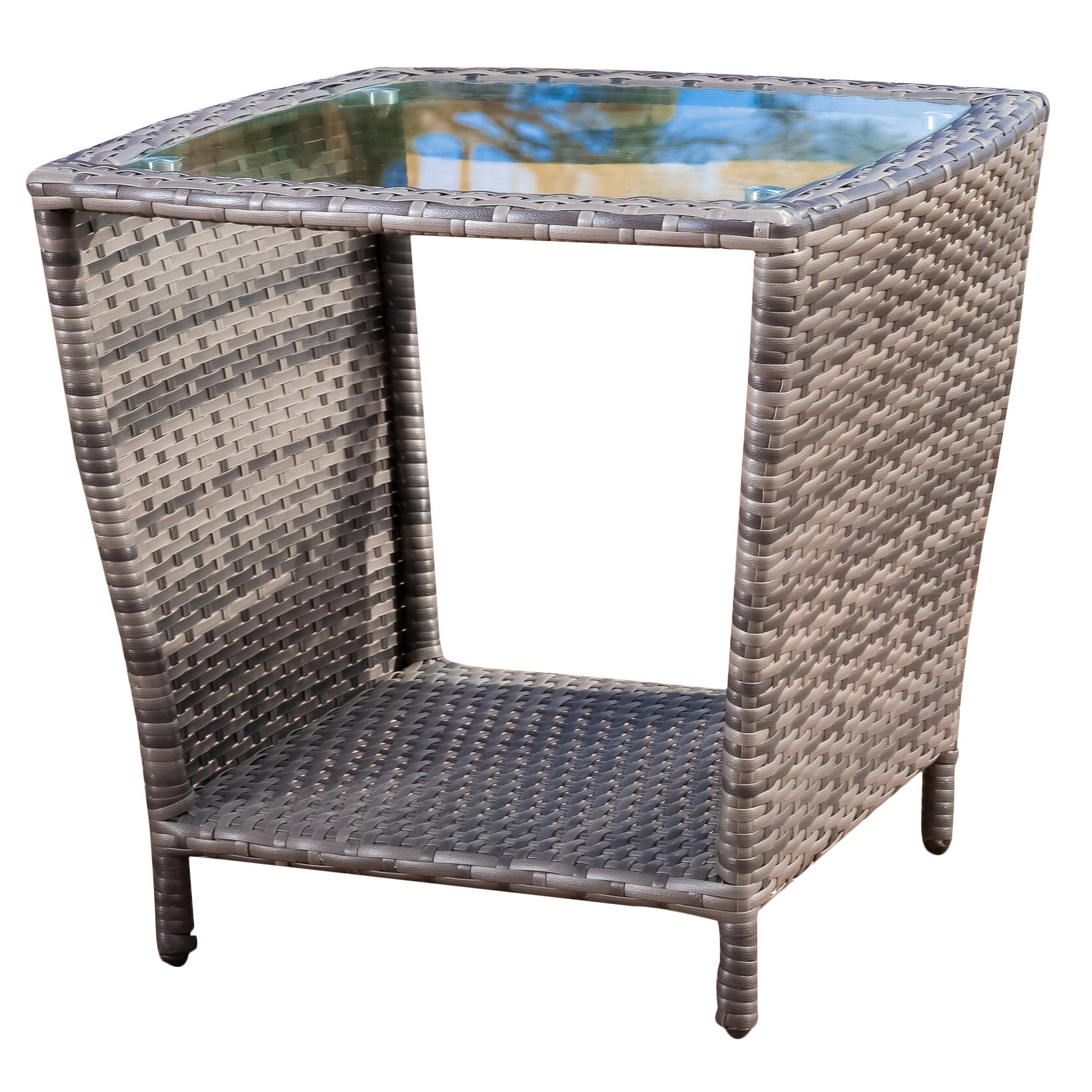 Mercury row austral outdoor wicker side table with glass for Wicker patio table
