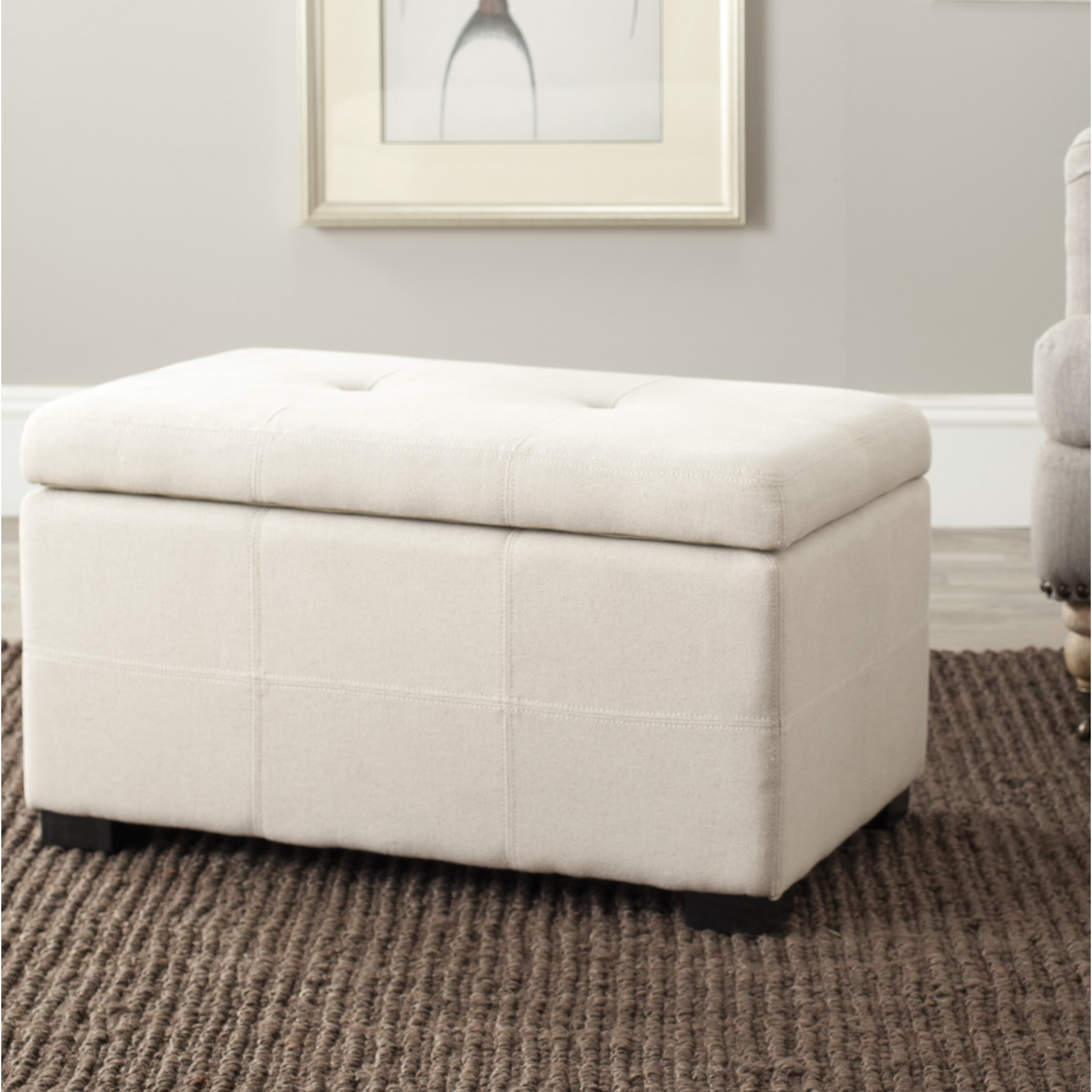 Mercury row tufted beige linen storage bedroom bench reviews wayfair Bedroom storage bench