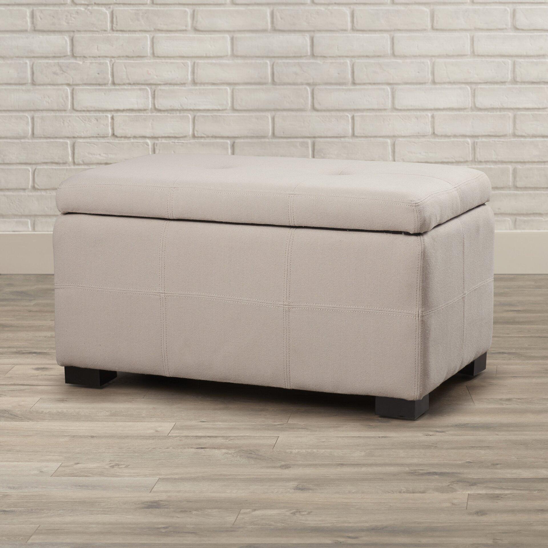 Mercury Row Tufted Beige Linen Storage Bedroom Bench